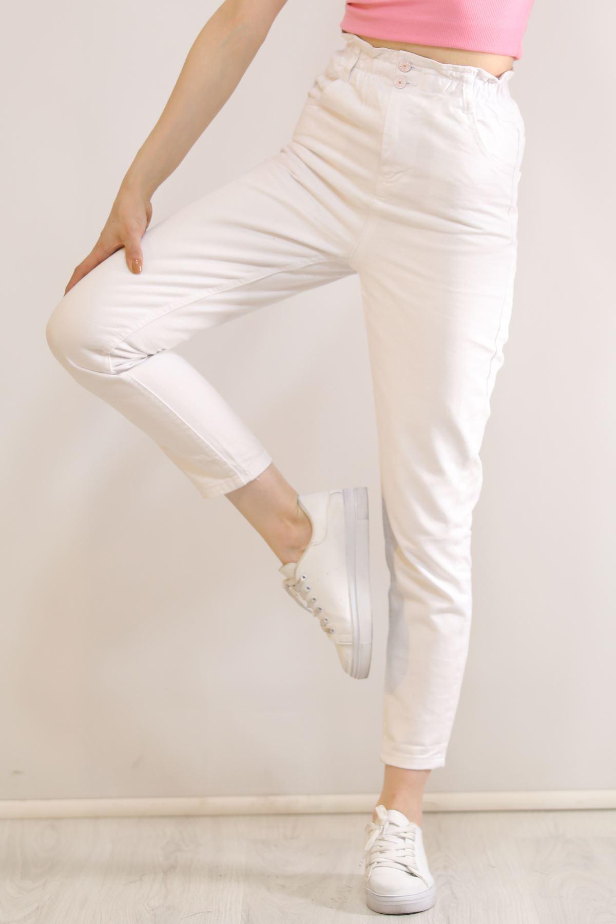 Çift Düğmeli  Kot Pantolon Beyaz - 5862.299.