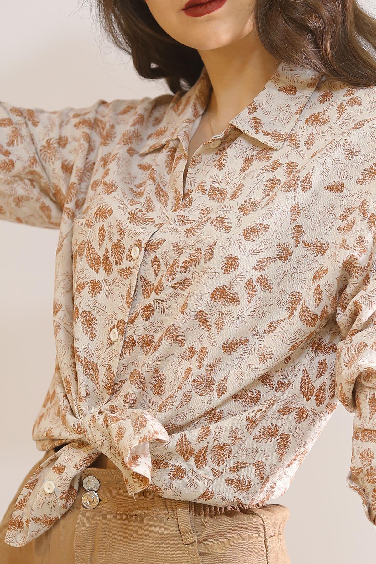 Keten Desenli Gömlek Tarçınçiçekli - 5839.128.