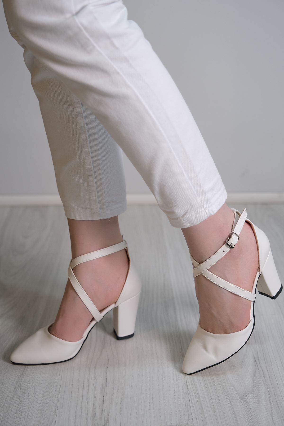 7 Cm Topuklu Ayakkabı Beyaz - 5179.264.