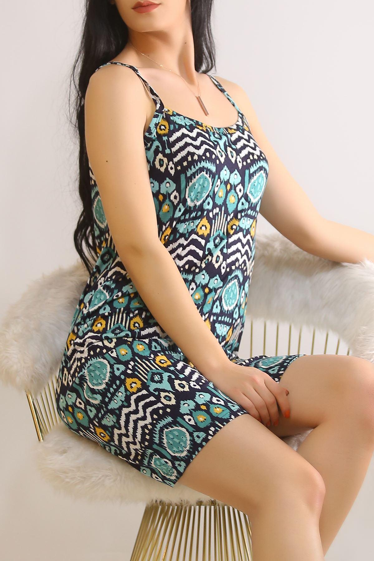İp Askılı Elbise Mintdesenli - 5776.1287.