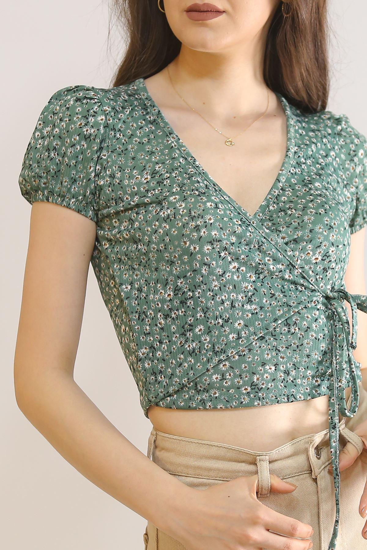 Beli İpli Bluz Yeşil - 5864.224.