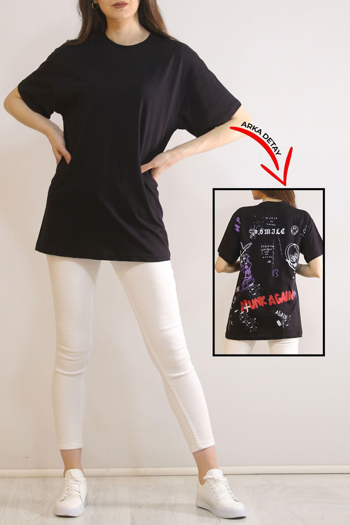 Arkası Baskılı Tişört Siyah - 5903.1377.
