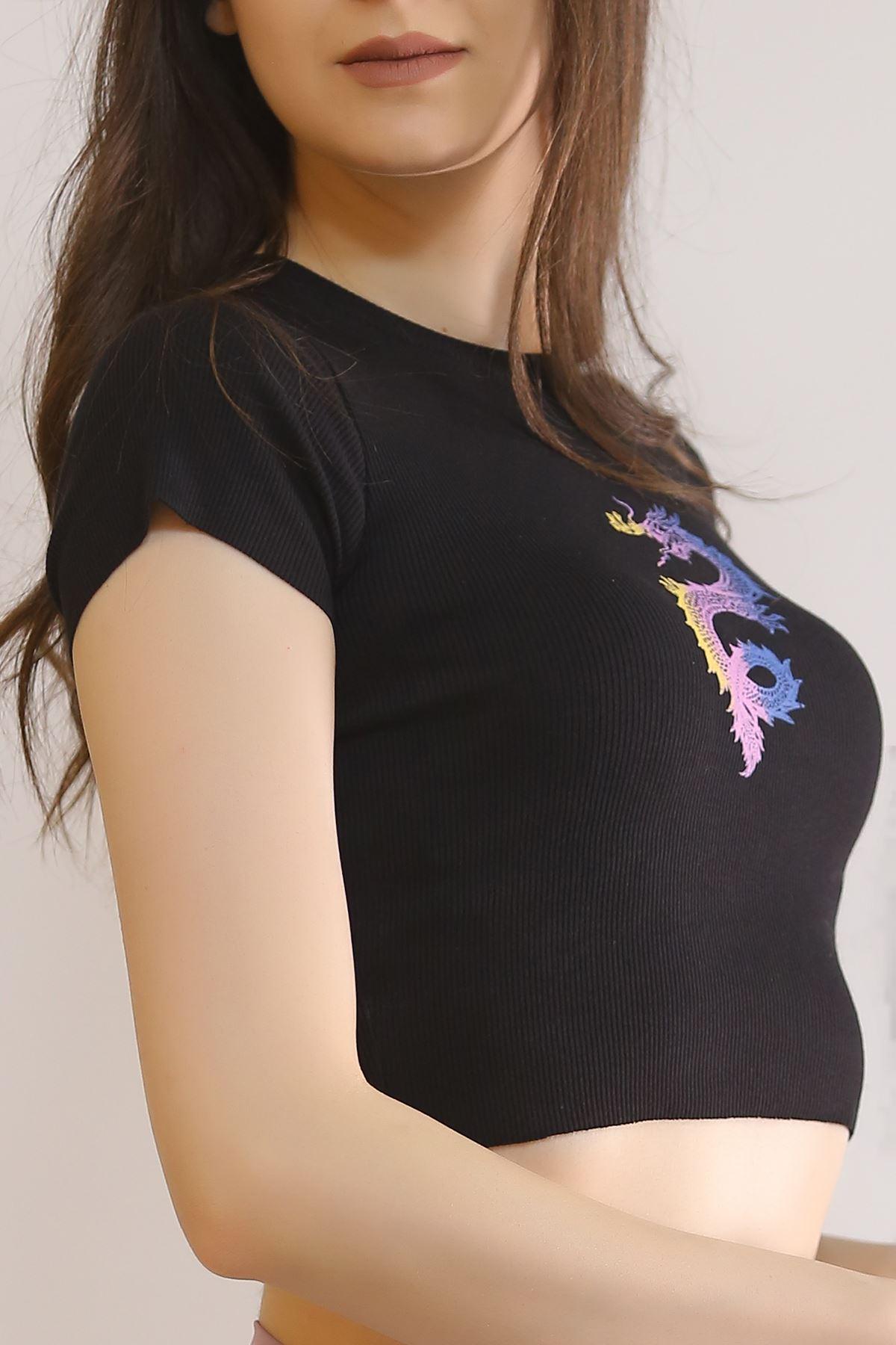 Desenli Crop Bluz Siyah - 2787.992.