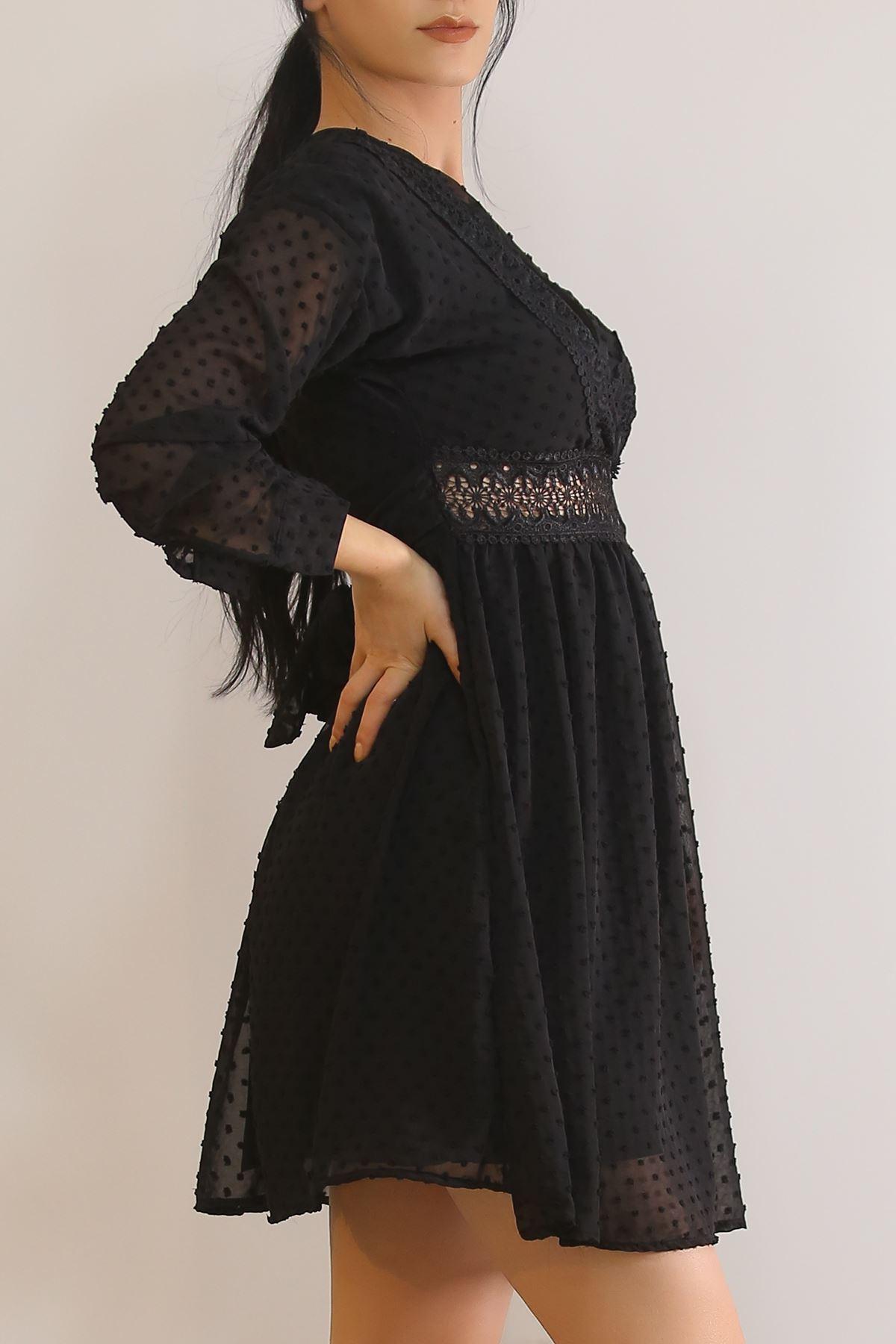 Sırt Dekolteli Dantel Elbise Siyah - 2364.159.