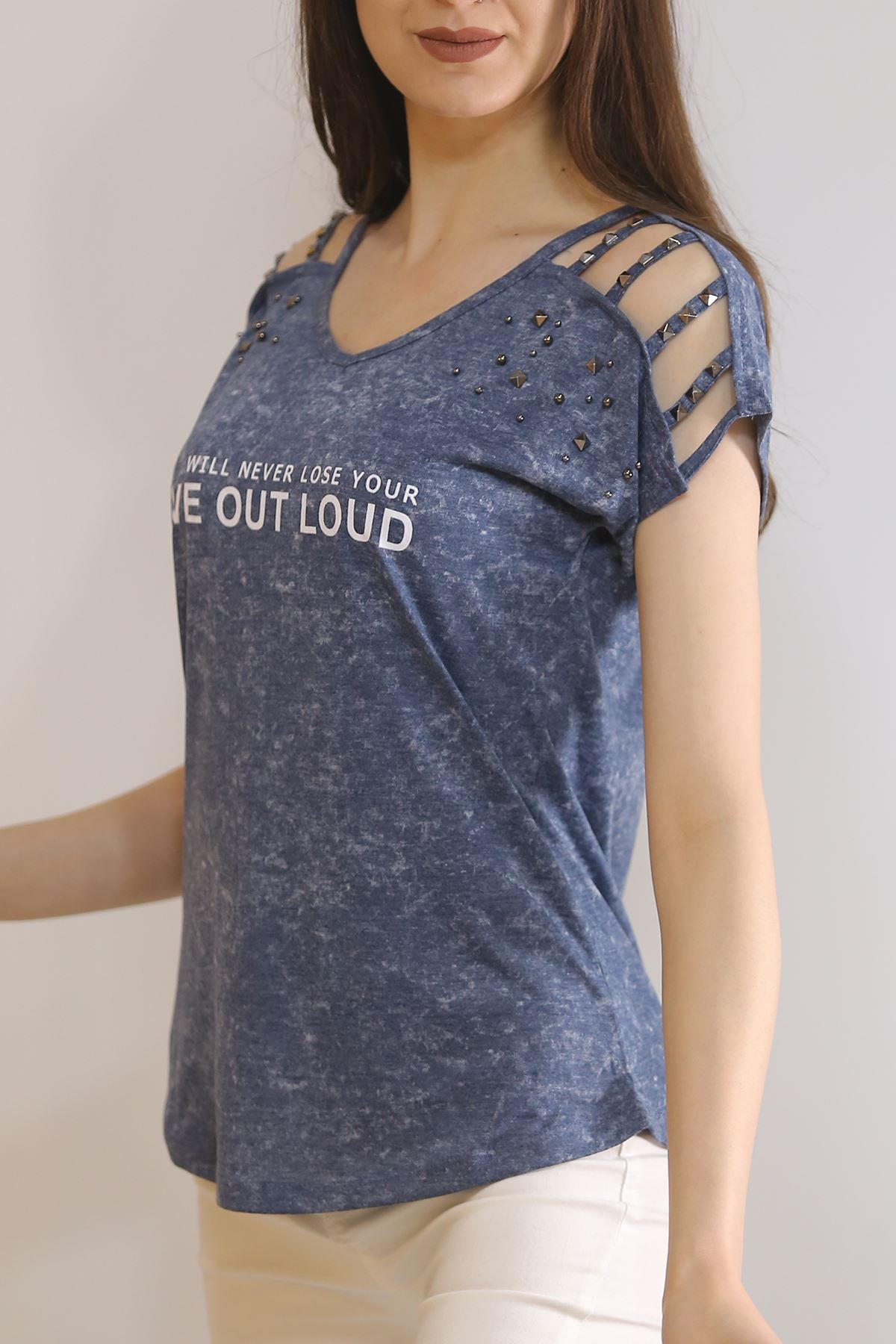 Biritli Yıkamalı Tişört İndigo - 3188.196.
