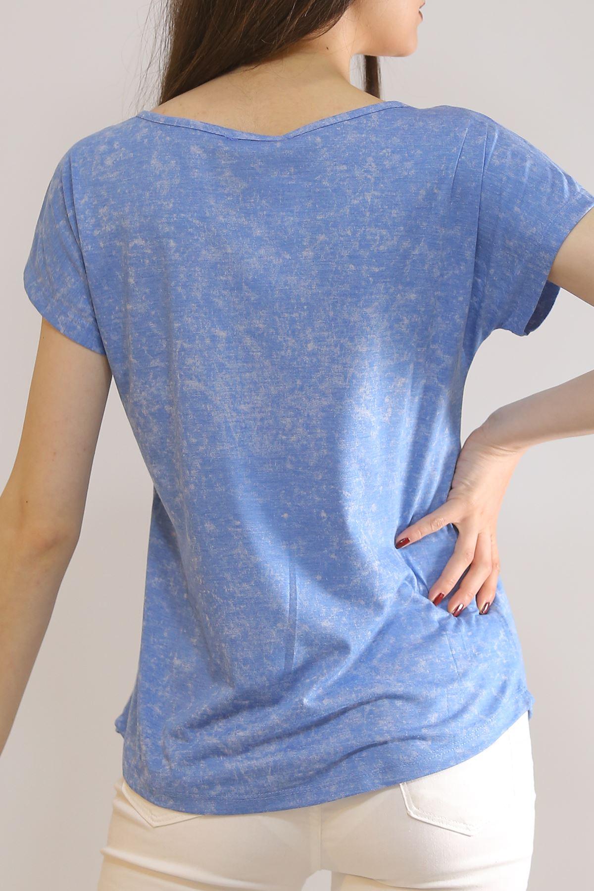Biritli Yıkamalı Tişört Mavi - 3188.196.