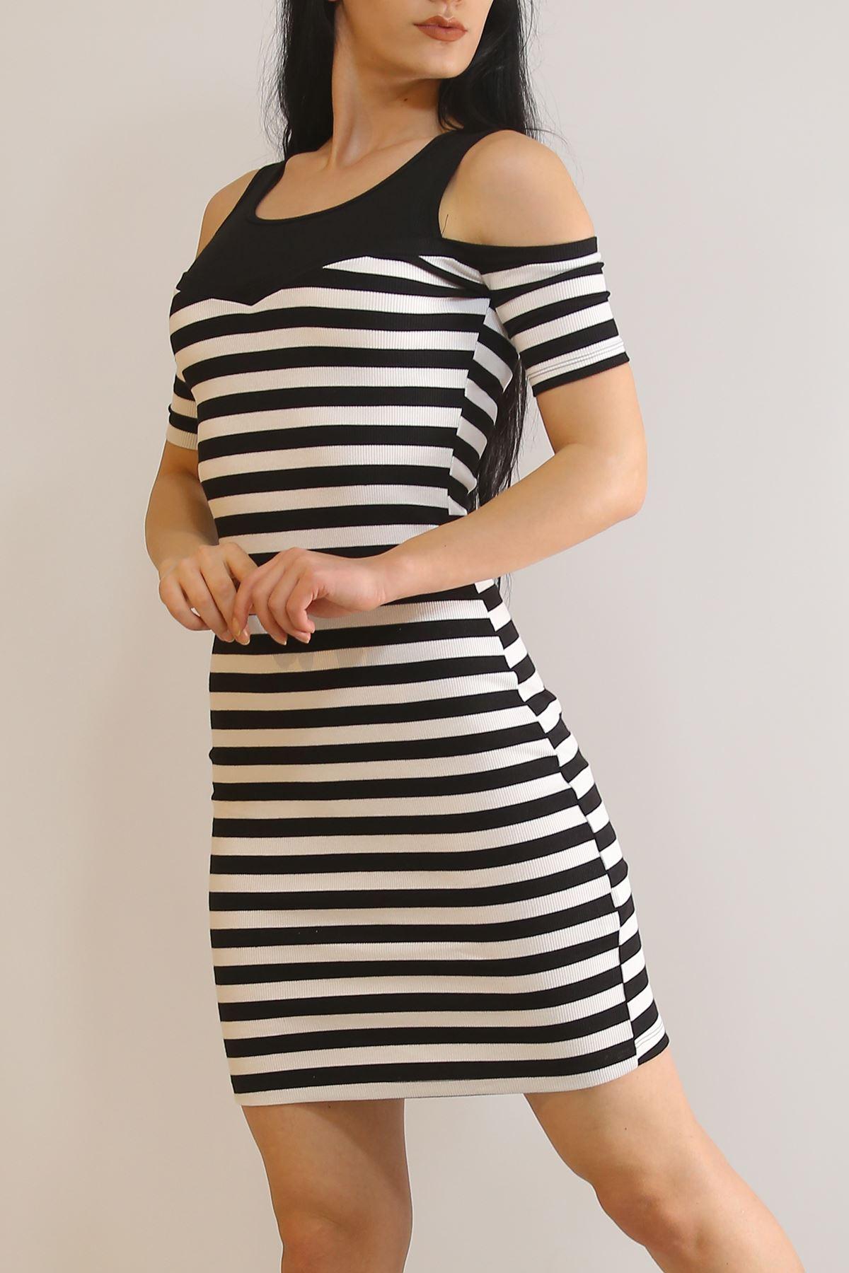 Çizgili Elbise Siyah - 3203.196.