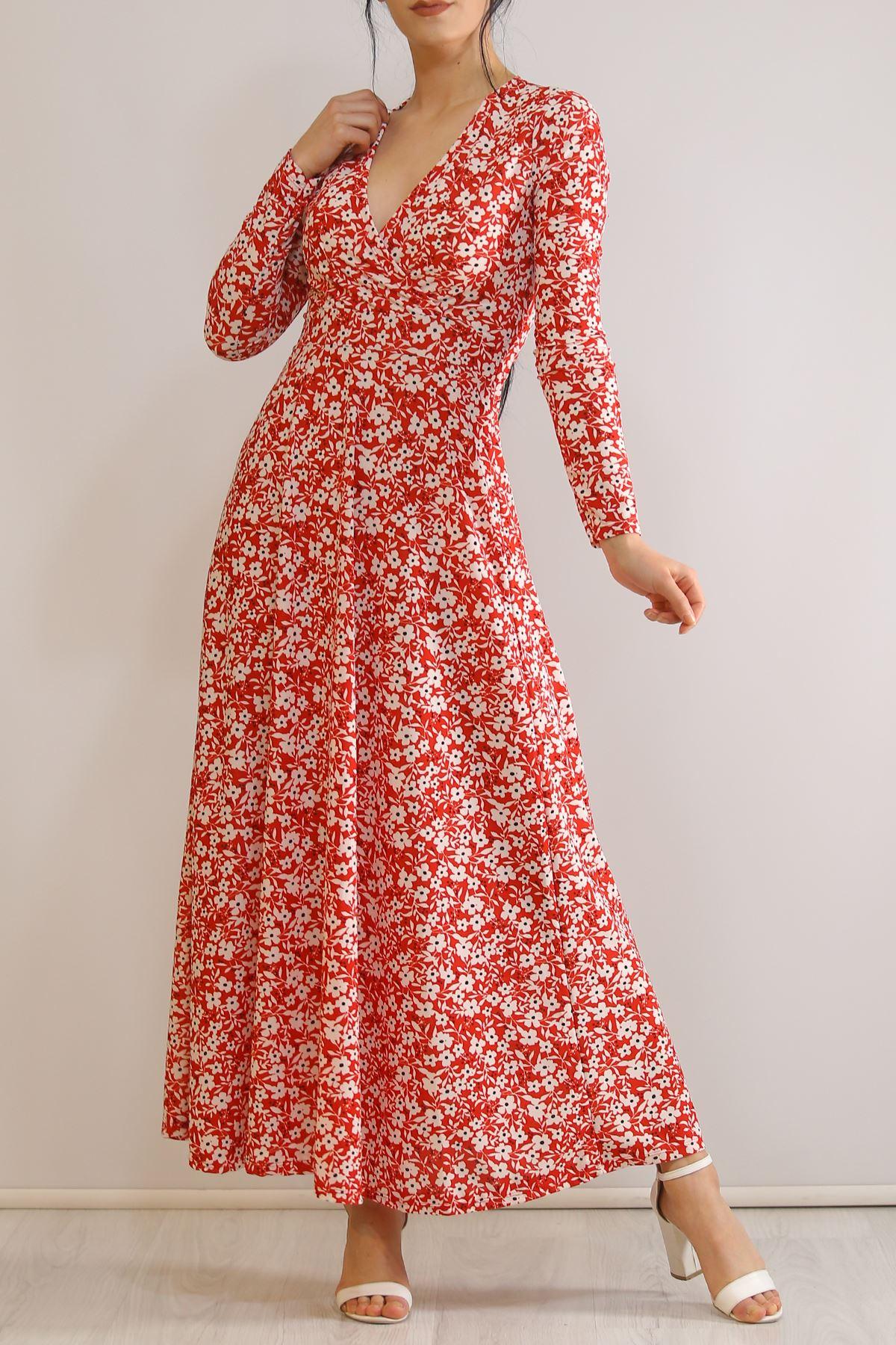 Çiçekli Elbise Kırmızı1 - 4987.716.