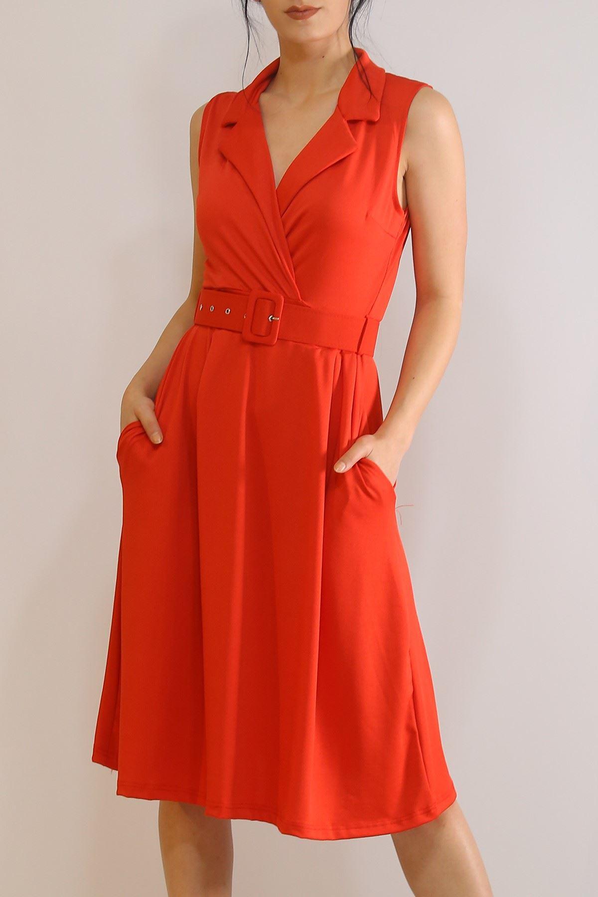 Kruvaze Kemerli Elbise Kırmızı - 5898.1269.
