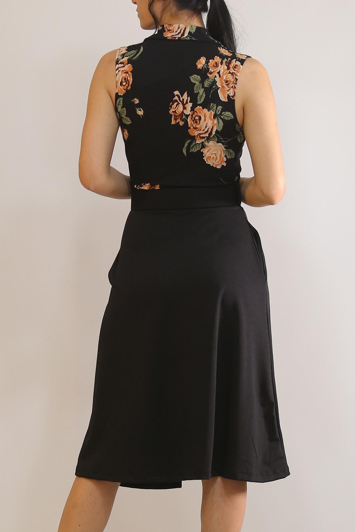 Kruvaze Kemerli Elbise Siyahçiçekli - 5898.1269.