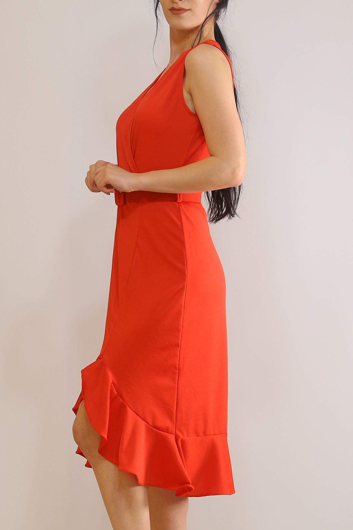 Sıfır Kol Kemerli Elbise Kırmızı - 5899.1269.