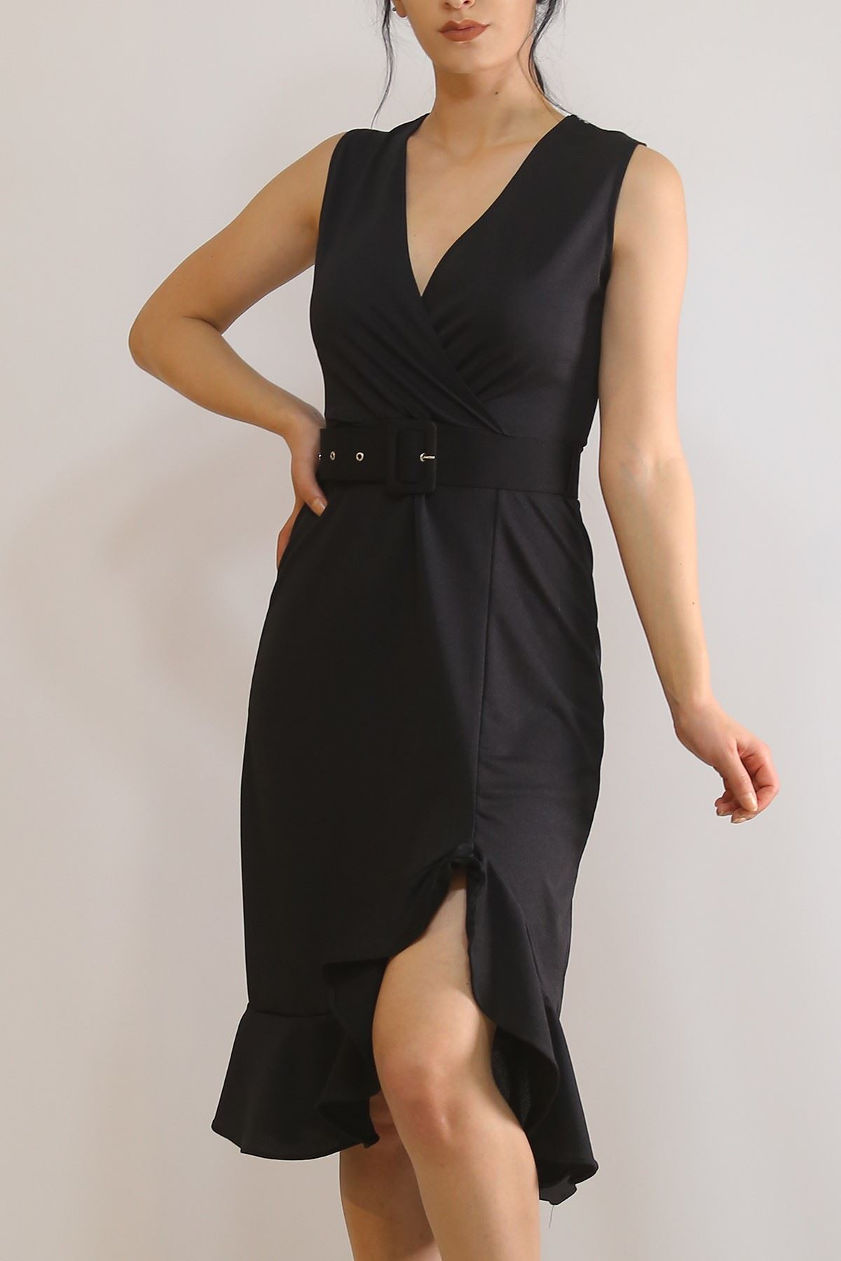 Sıfır Kol Kemerli Elbise Siyah - 5899.1269.