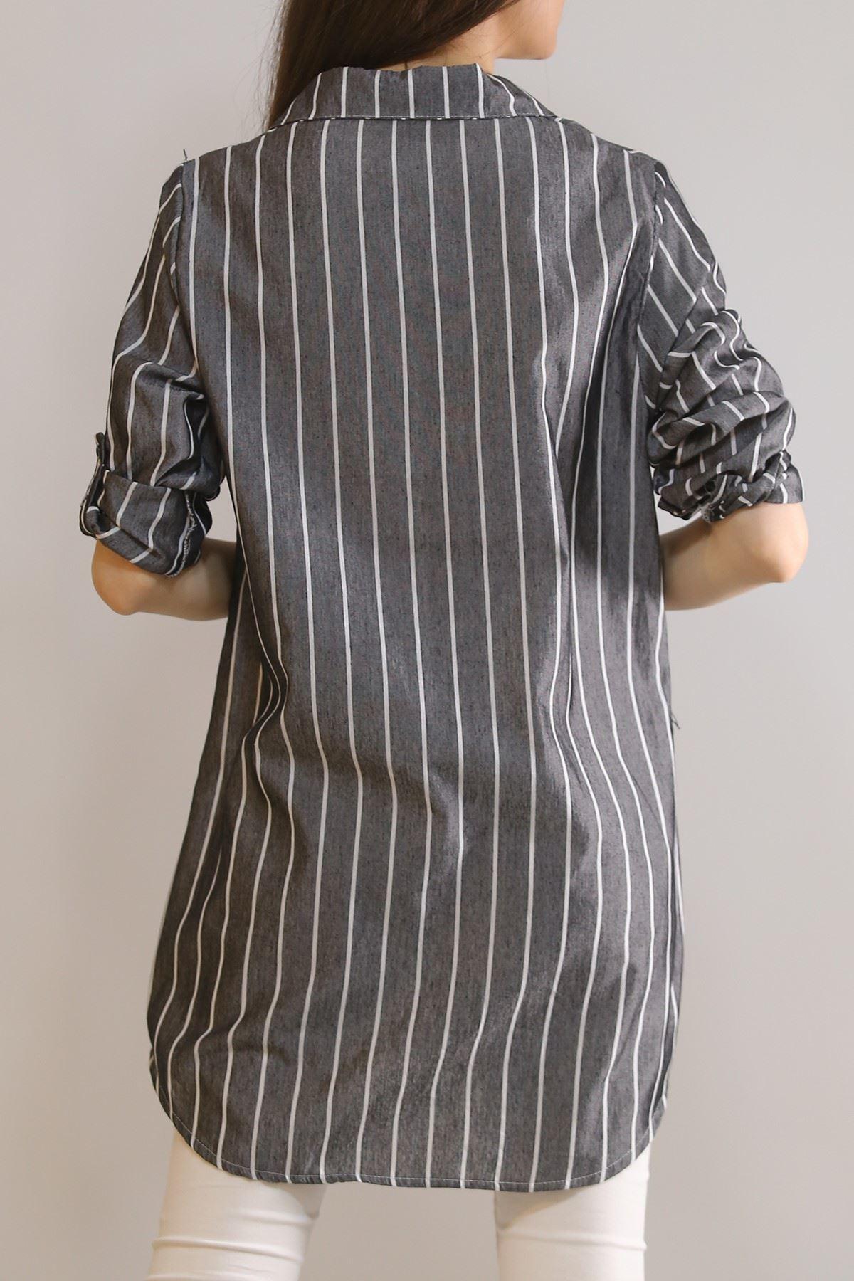 Önü Patlı Tunik Gömlek Antrasit - 5904.1376.