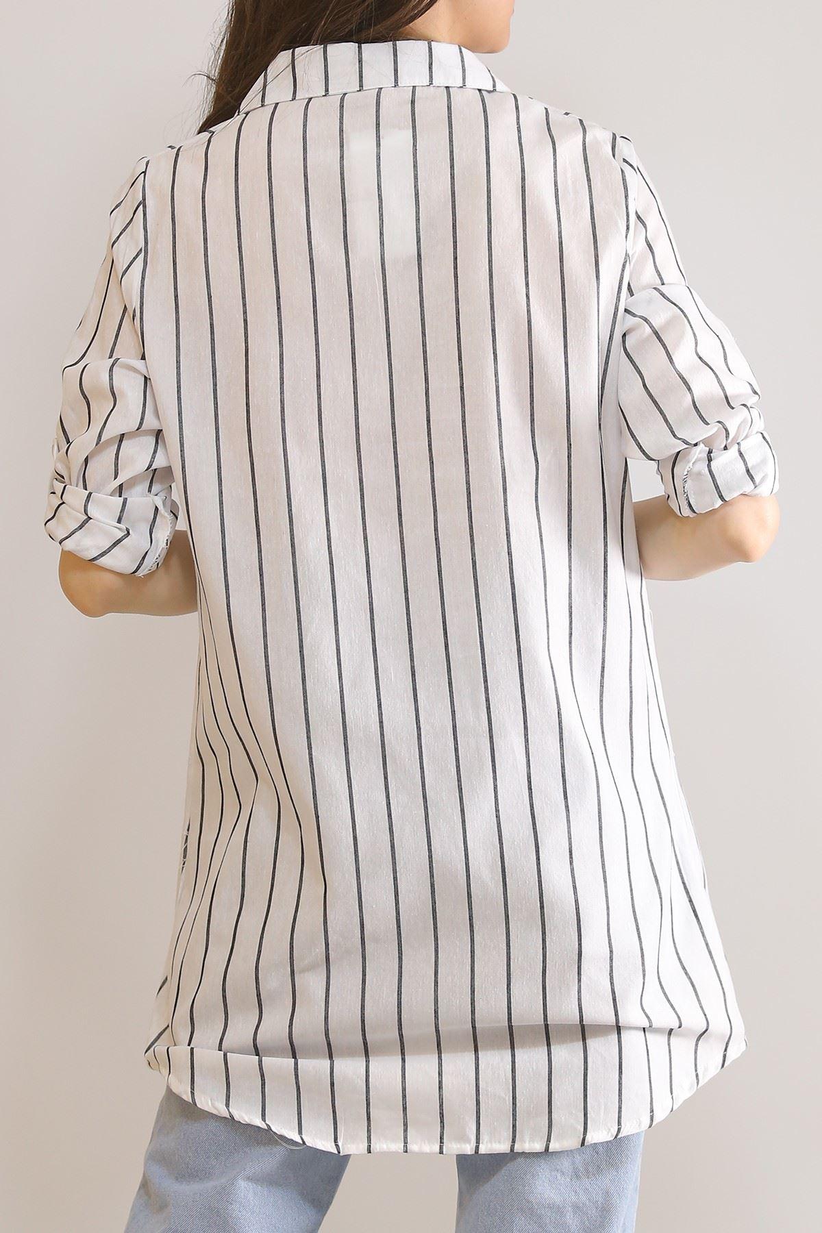 Önü Patlı Tunik Gömlek Beyaz - 5904.1376.