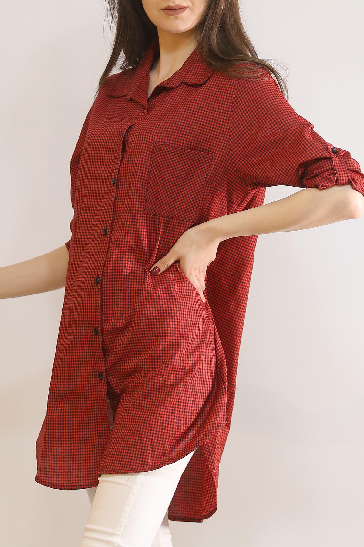 Önü Patlı Tunik Gömlek Kırmızı - 5904.1376.