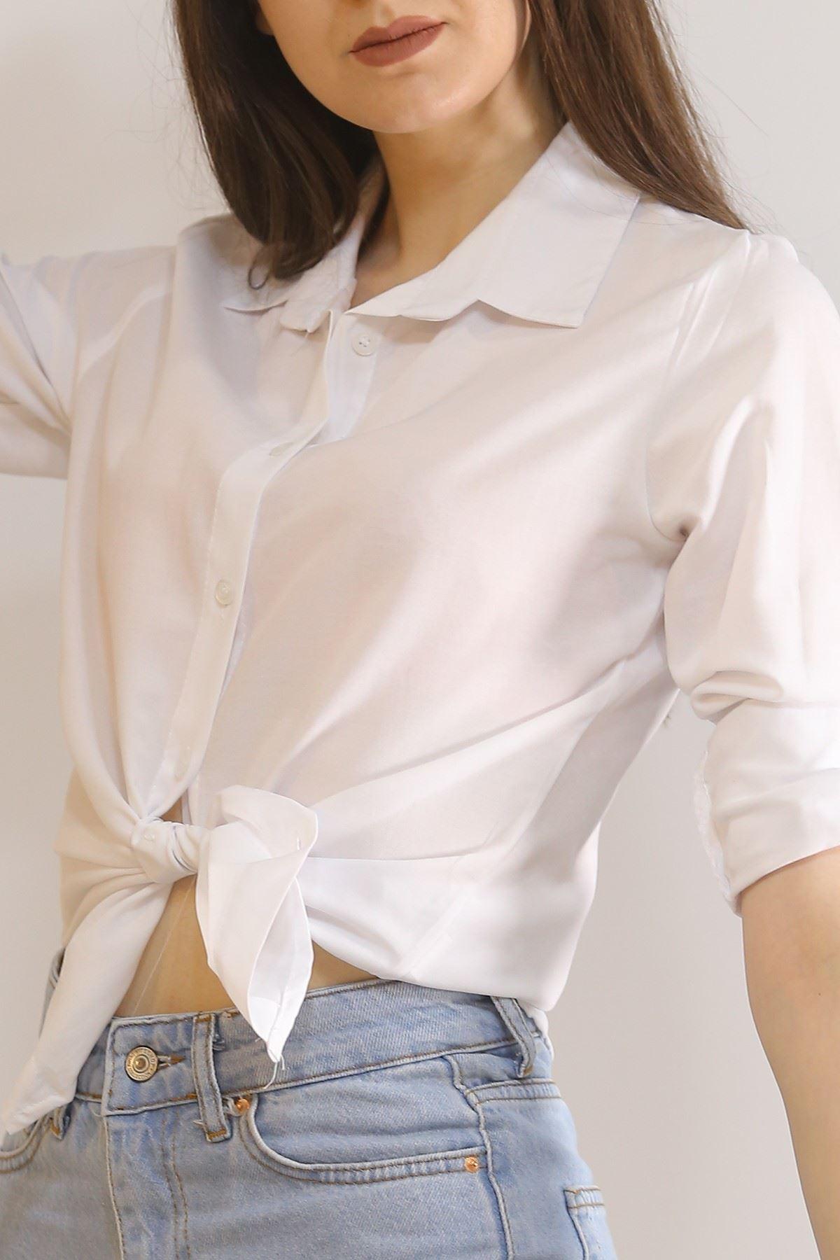 Kolu Katlamalı Gömlek Beyaz - 5907.1376.