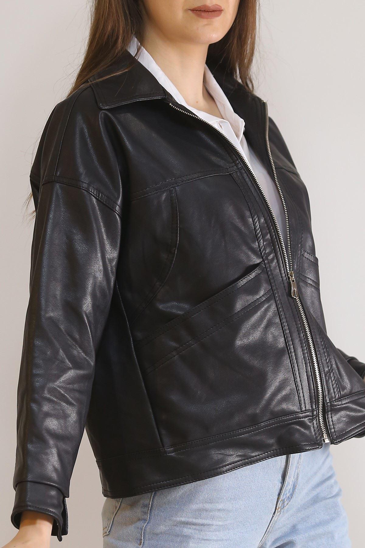Freesize Deri Ceket Siyah - 5933.146.