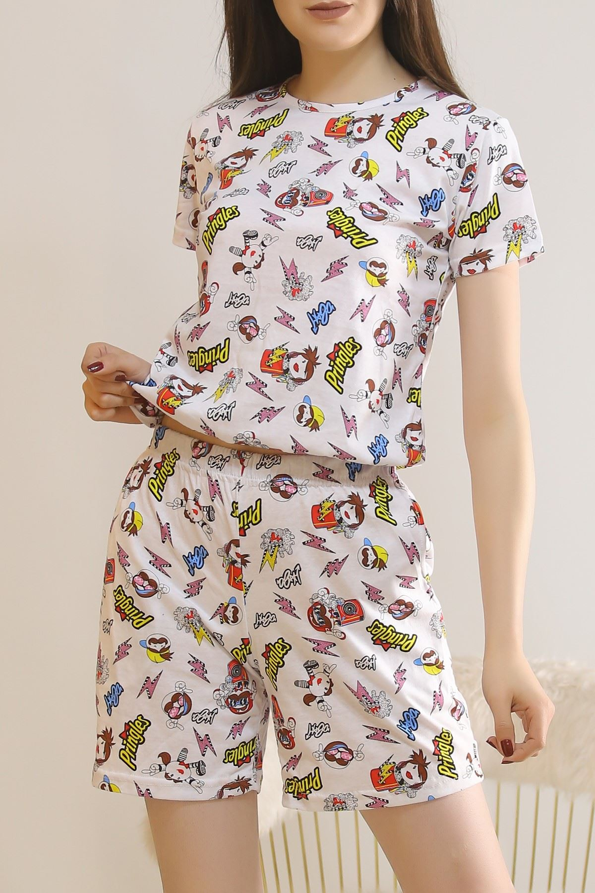 Şortlu Pijama Takımı Beyaz - 5924.1059.