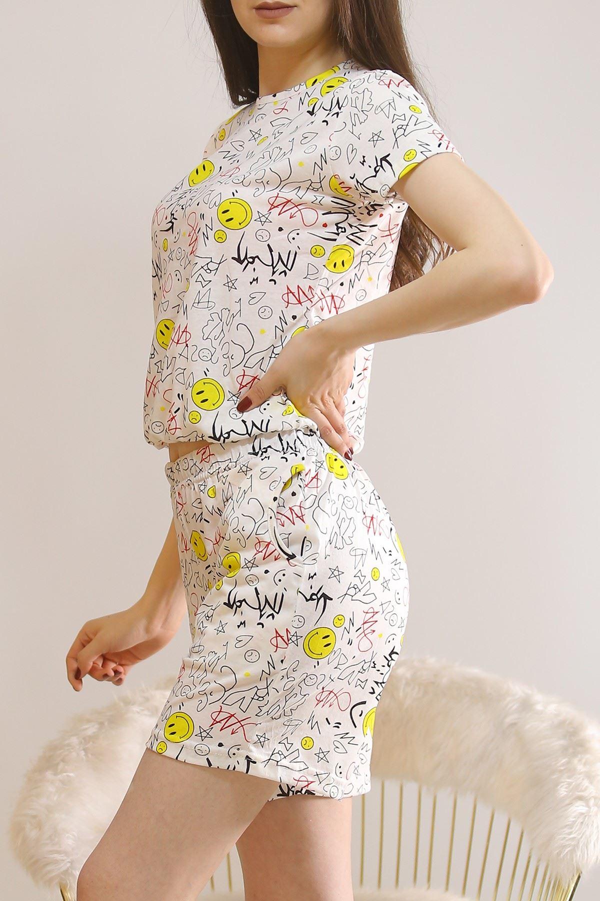 Şortlu Pijama Takımı Beyaz1 - 5924.1059.