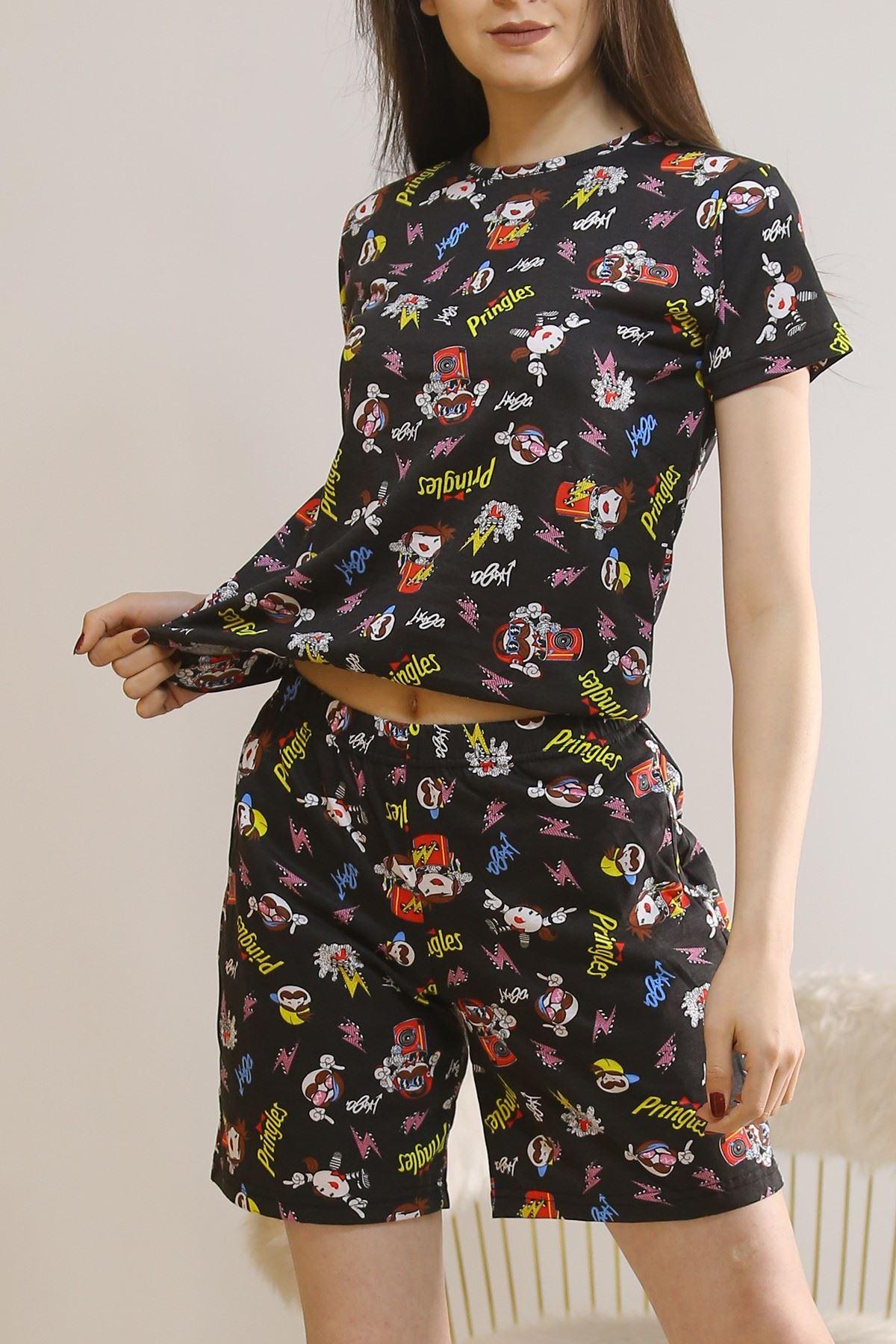 Şortlu Pijama Takımı Siyah - 5924.1059.