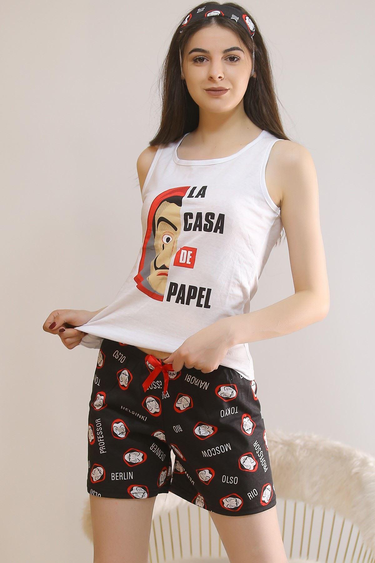 Şortlu Pijama Takımı Beyaz - 5928.1059.