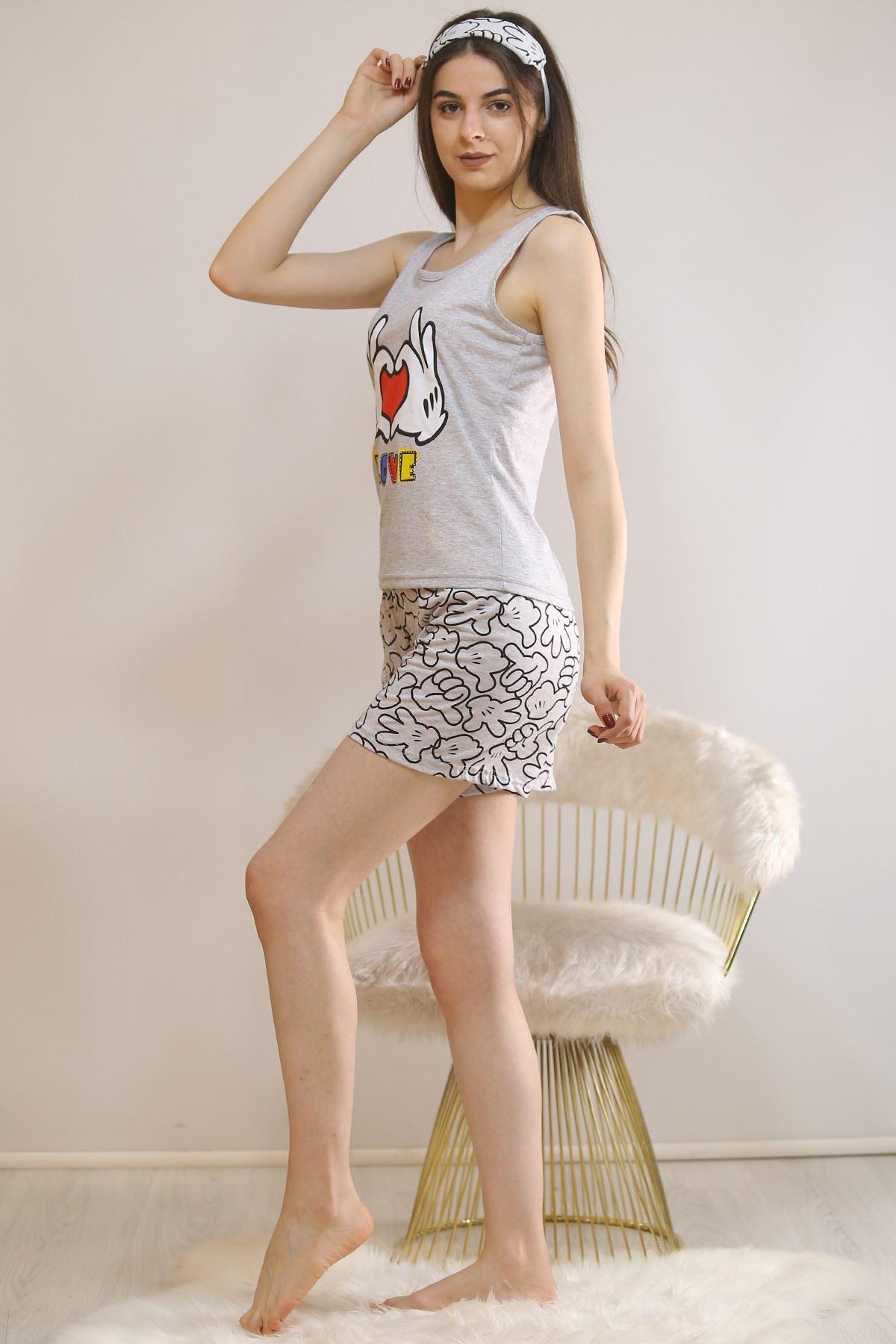 Şortlu Pijama Takımı Gri - 5930.1059.