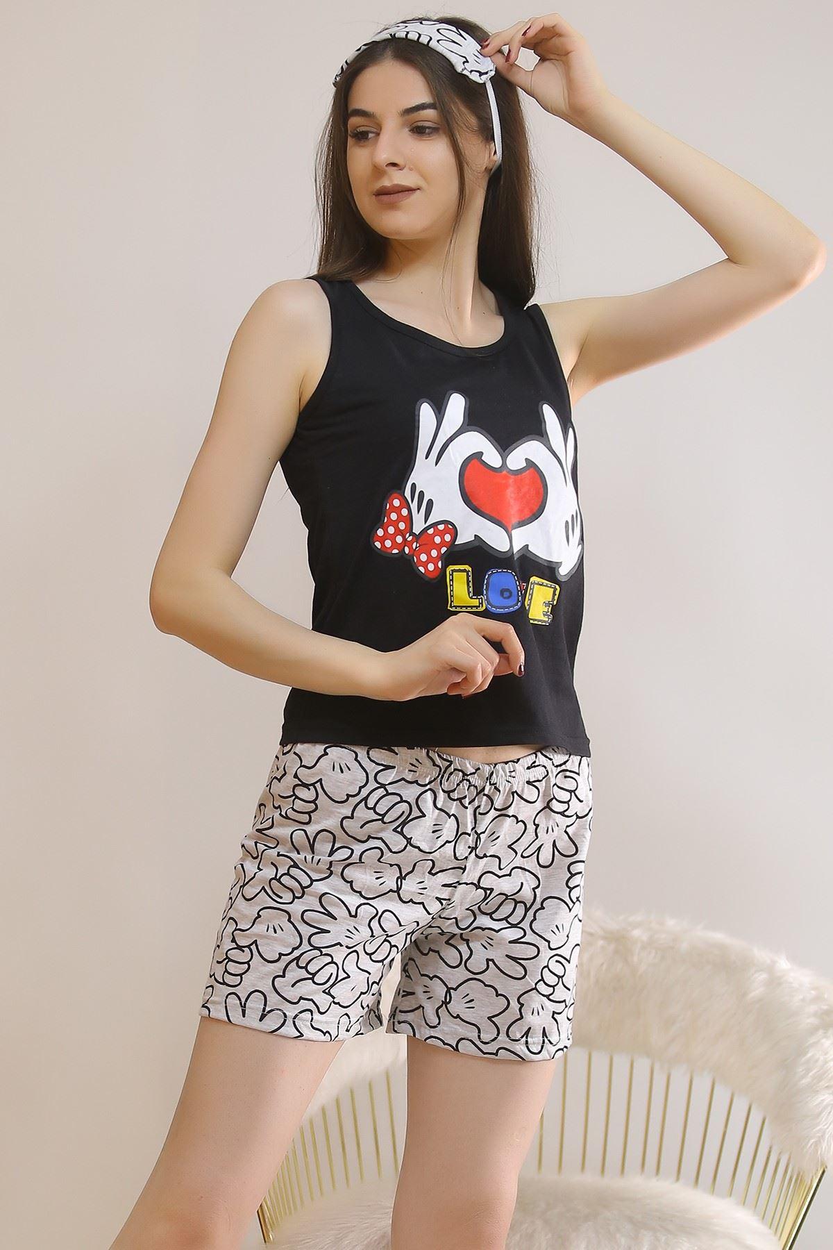Şortlu Pijama Takımı Siyah - 5930.1059.