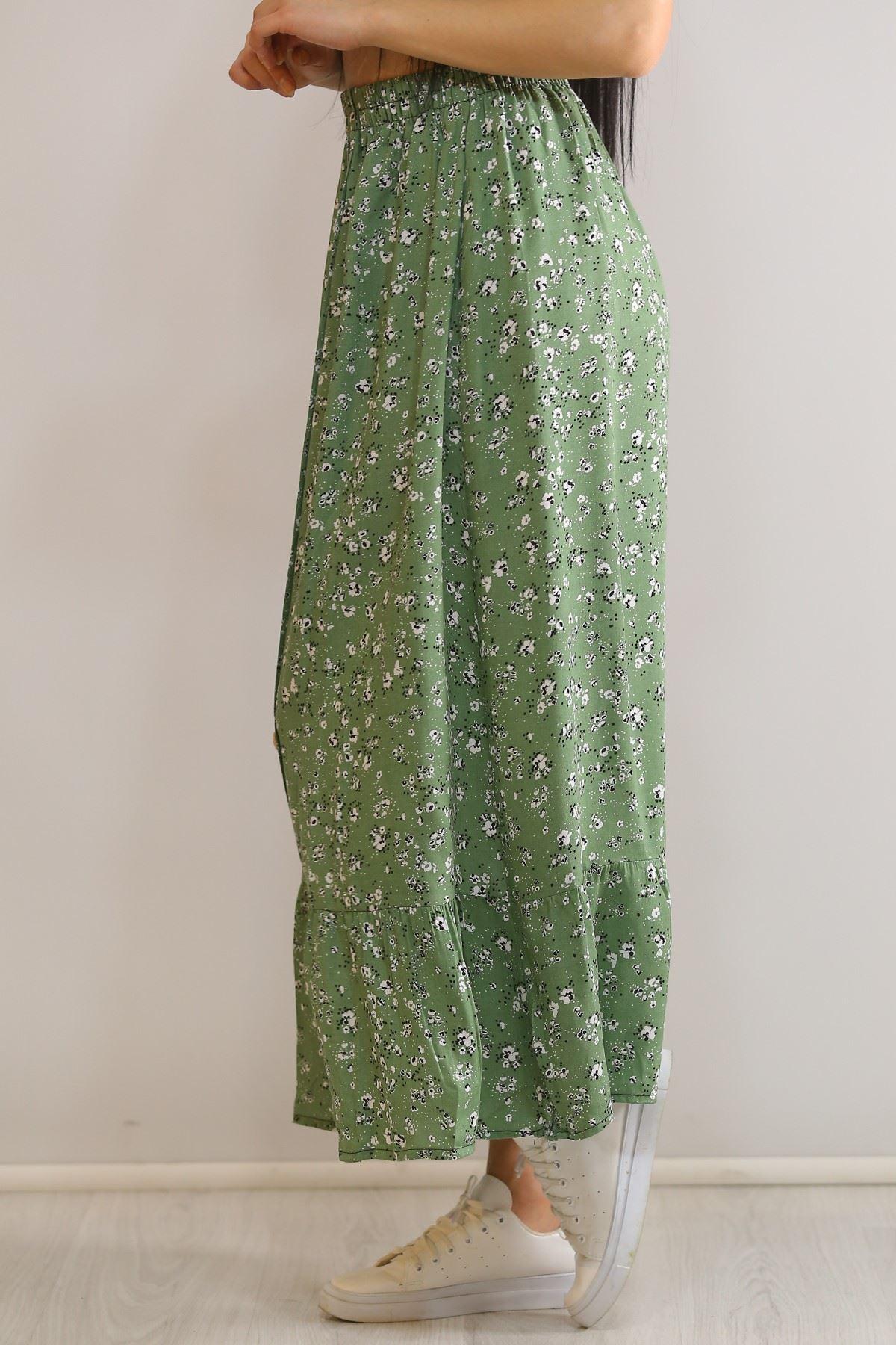 Düğmeli Uzun Etek Yeşil - 5944.701.