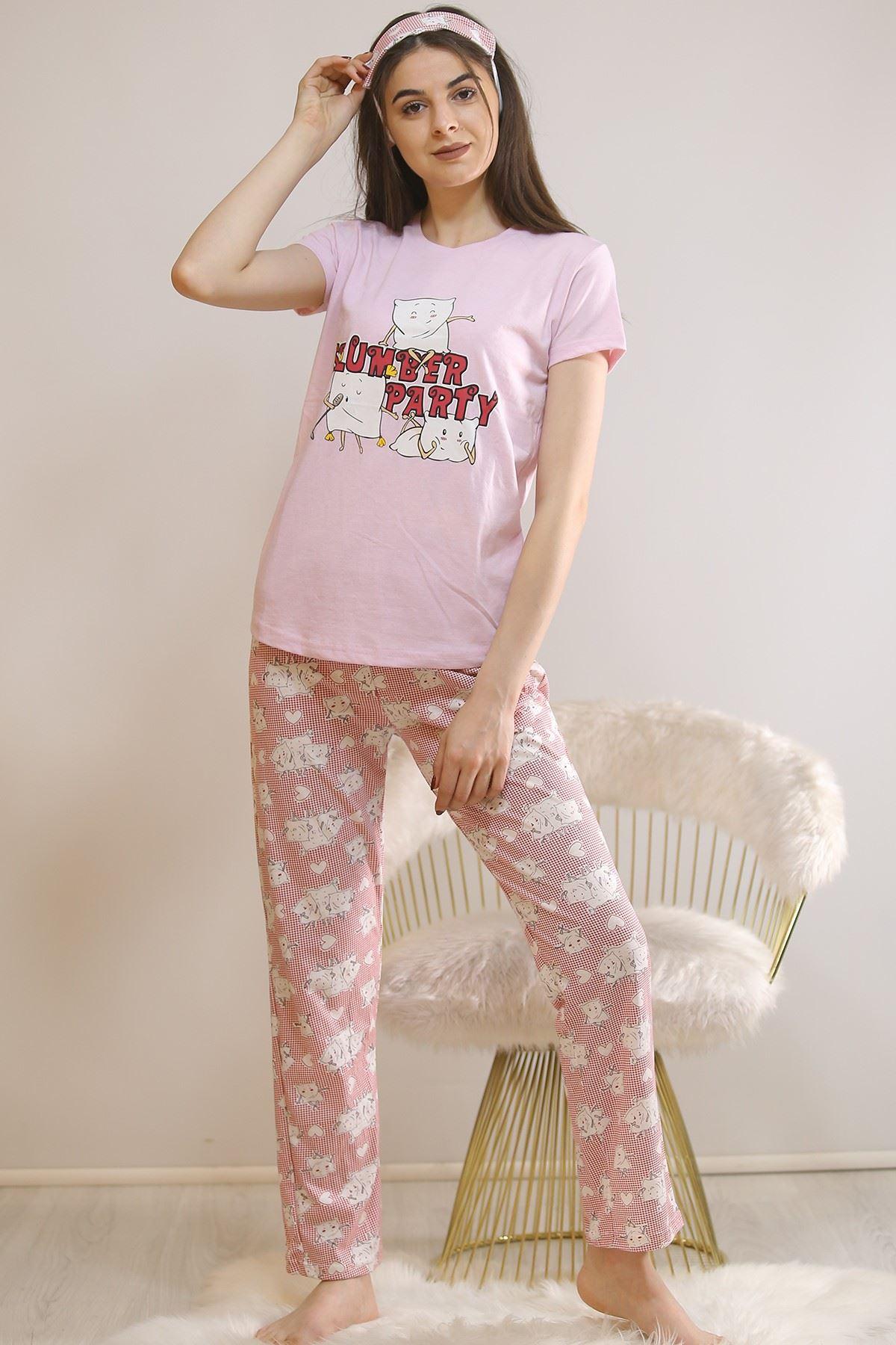 Baskılı Pijama Takımı Lila - 21404.1059.