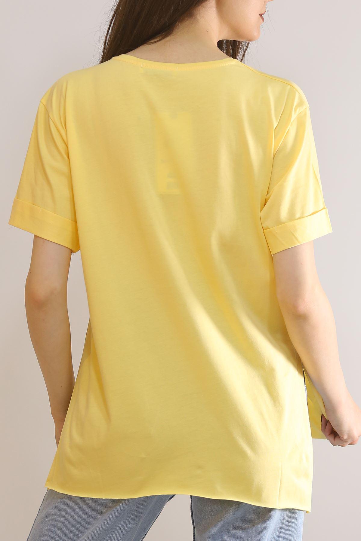 Yırtmaçlı Baskılı Tişört Sarı - 1068.275.
