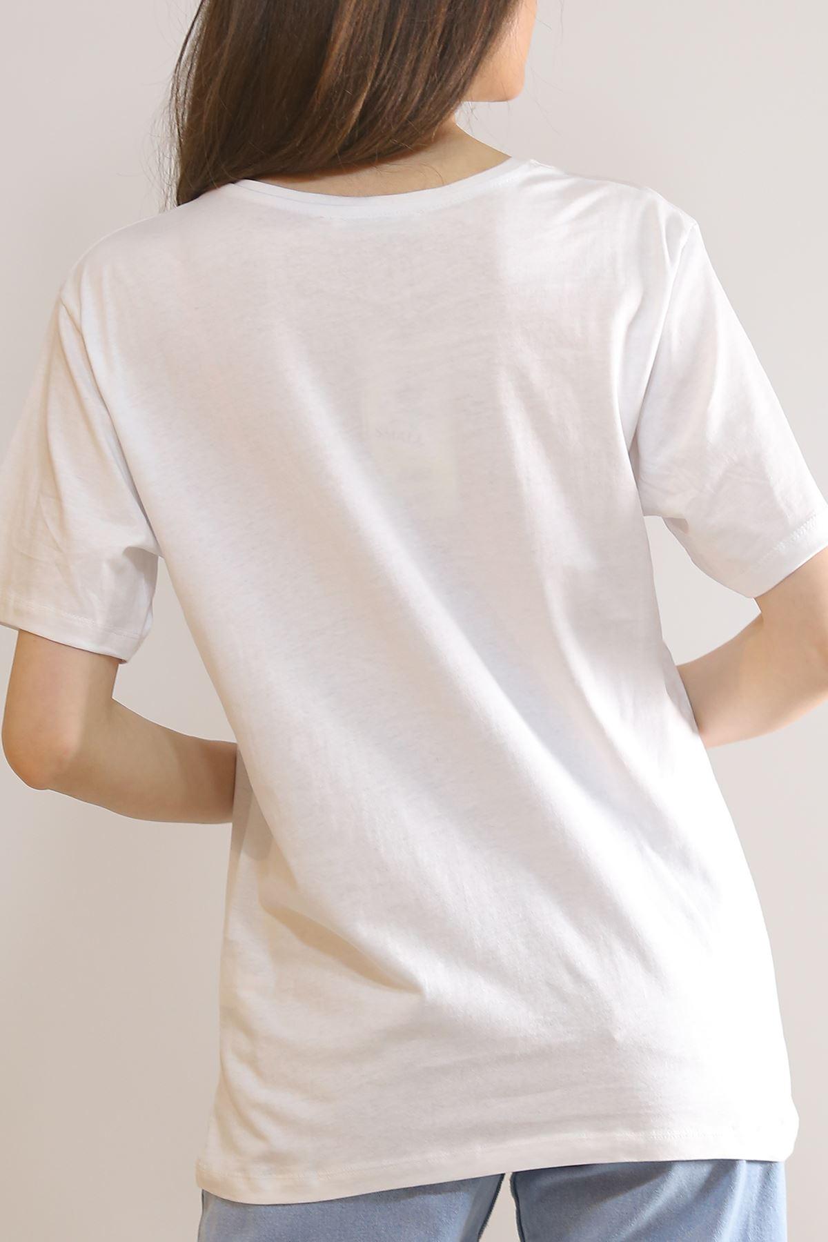 Yazılı Kalpli Tişört Beyaz - 11003.275.