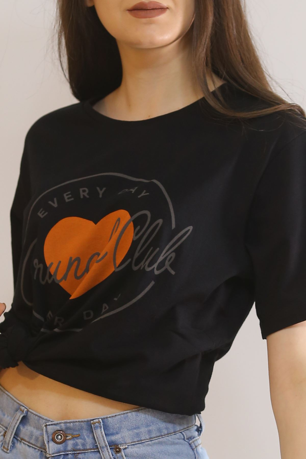 Yazılı Kalpli Tişört Siyah - 11003.275.