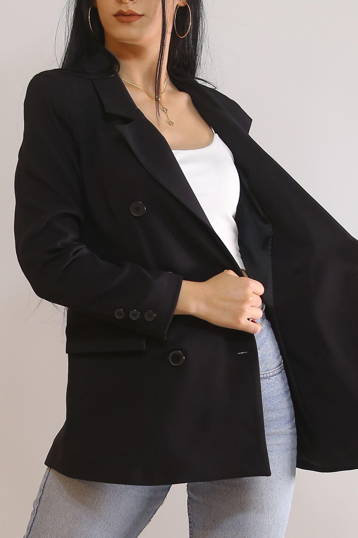 Kruvaze Ceket Siyah - 3428.222.