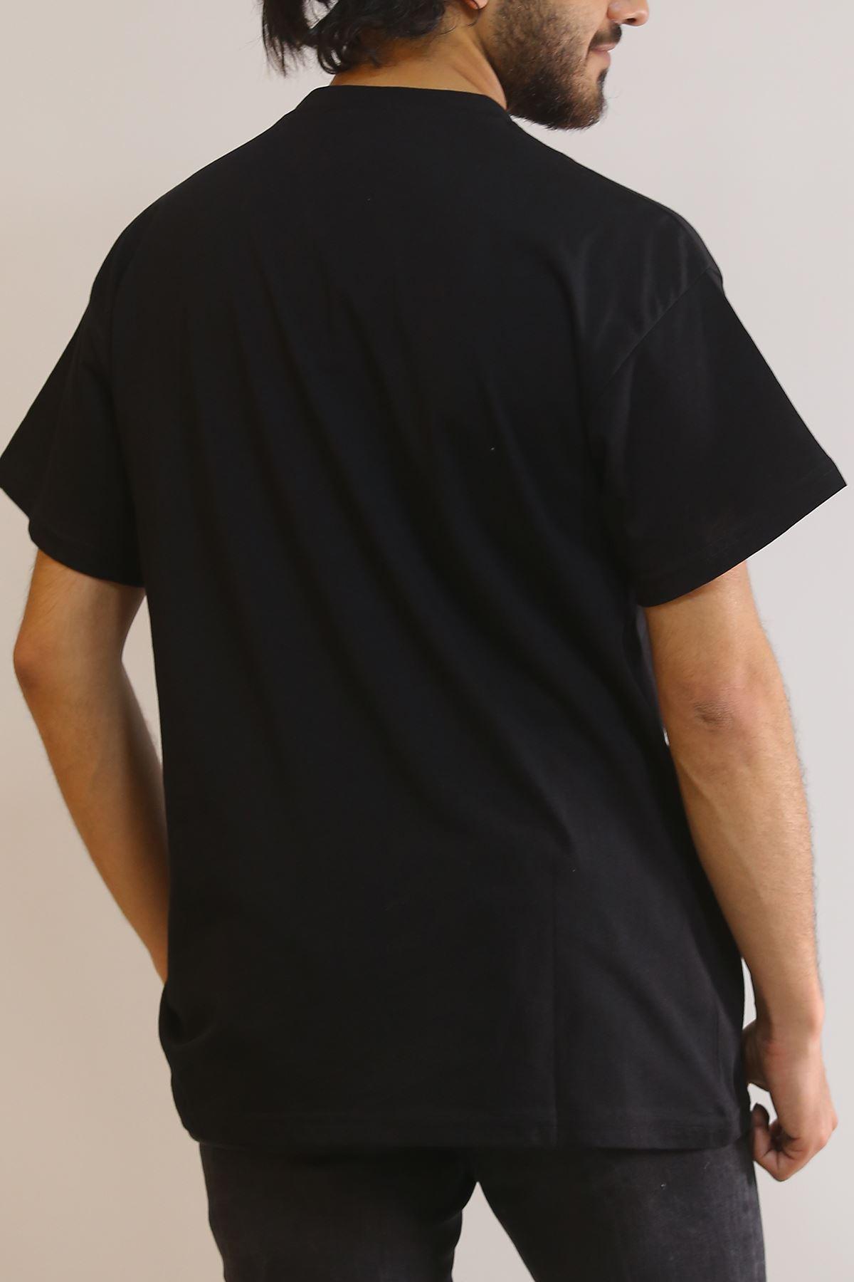 Nakış Baskılı Tişört Siyah - 5843.1377.