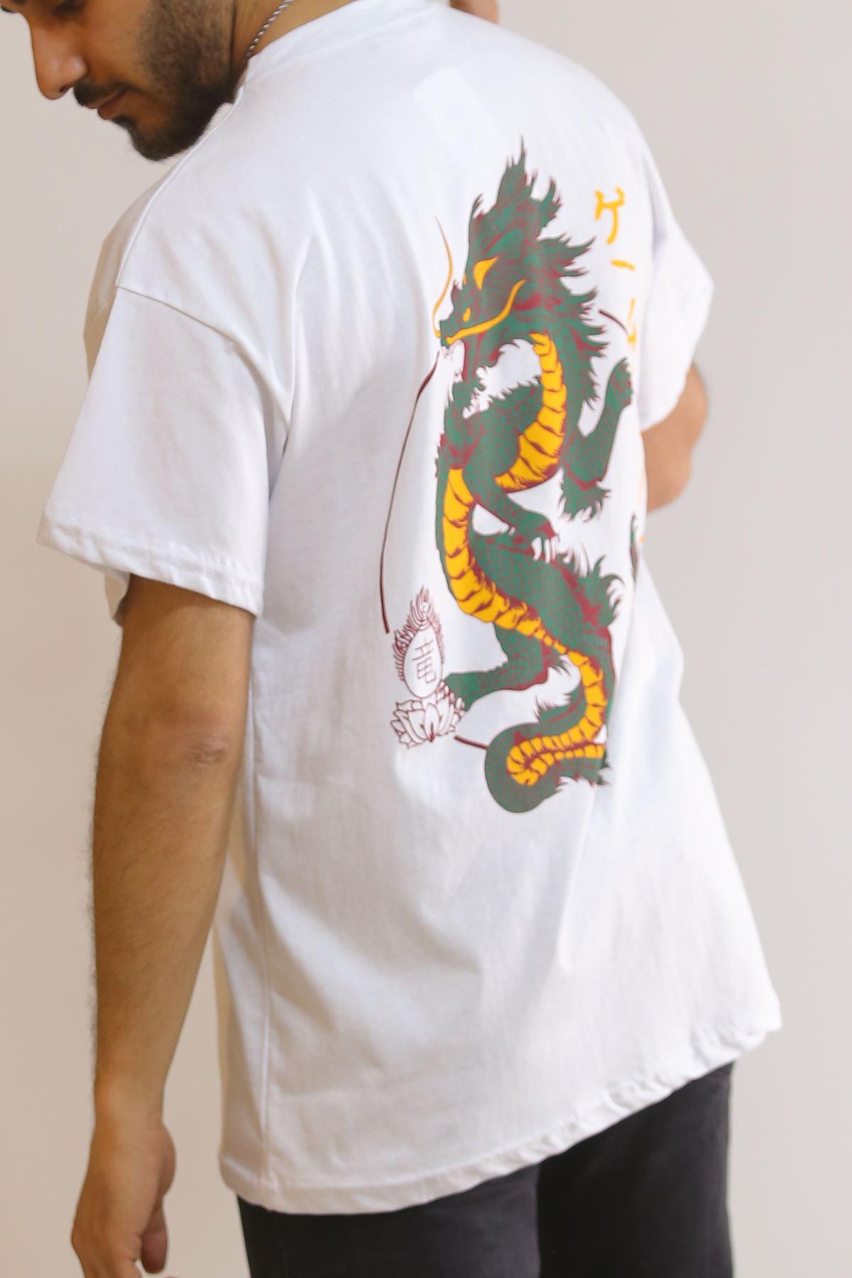 Sırt Baskılı Tişört Beyaz - 5866.1377.