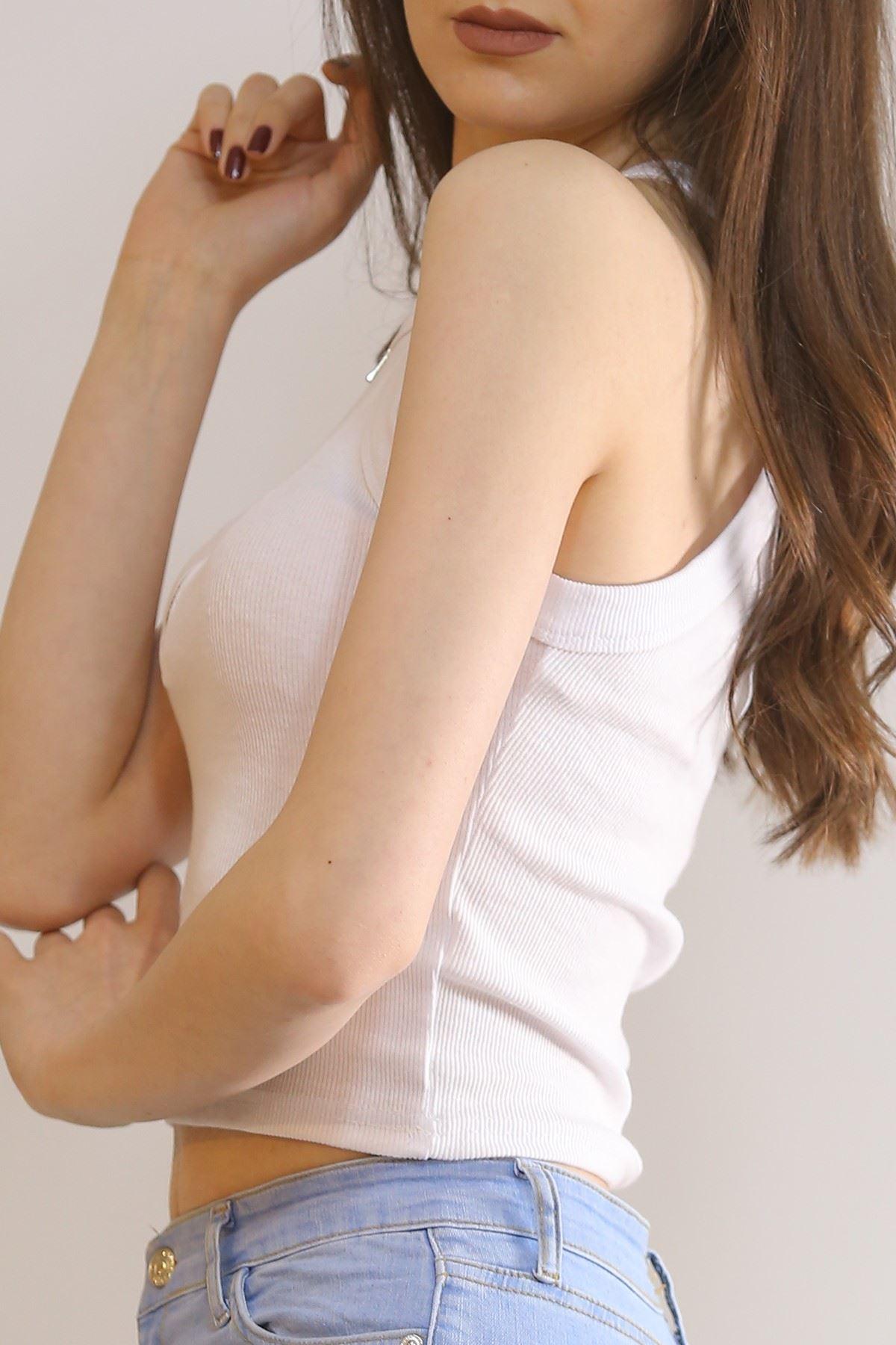 Fermuarlı Kaşkorse Bluz Beyaz - 4880.148.
