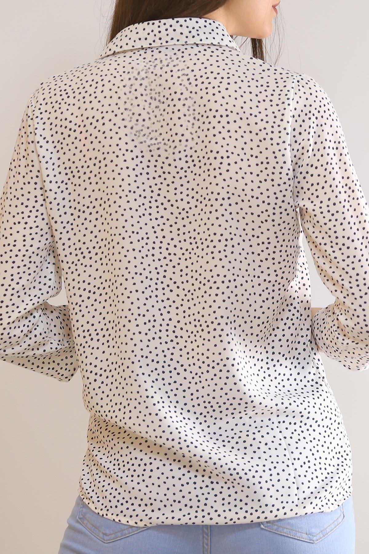 Desenli Gömlek Puanlıbeyaz - 5087.128.