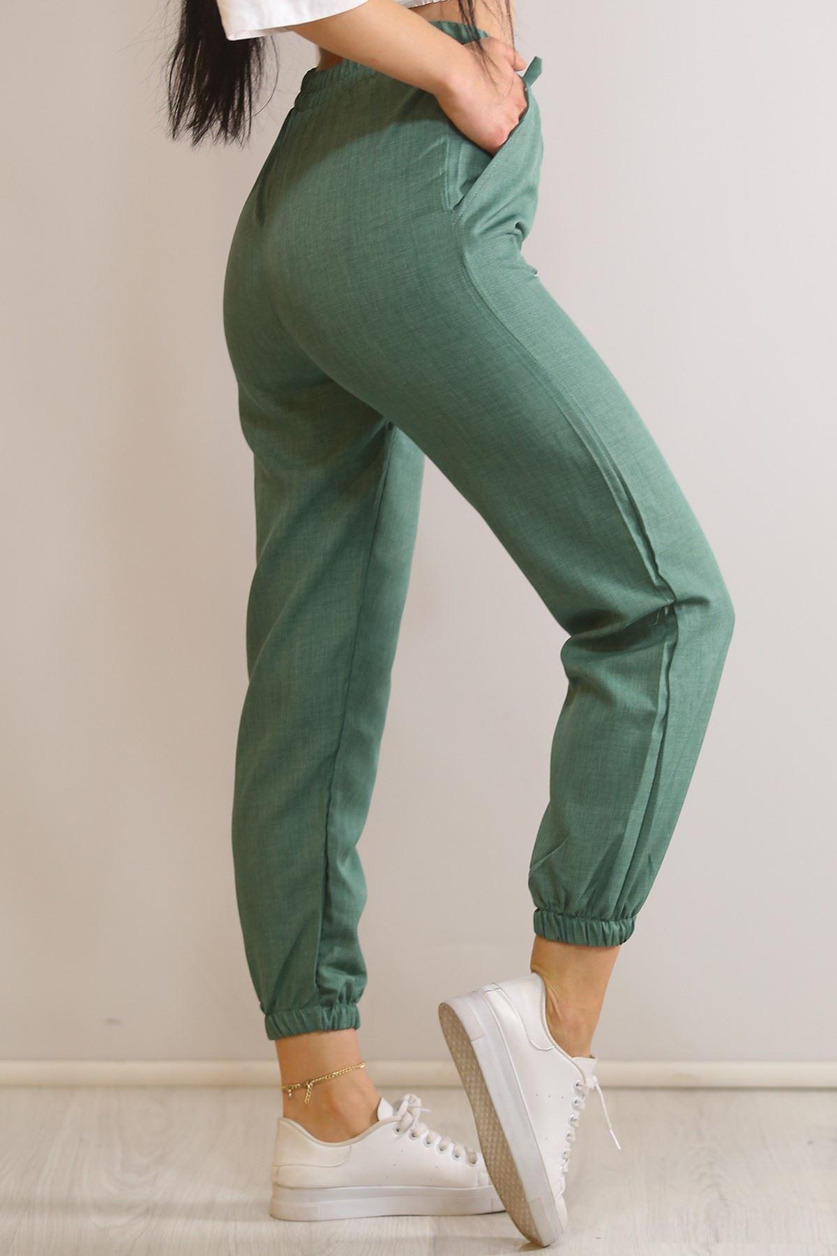 Beli Lastikli Dokuma Pantolon Yeşil - 5936.128.