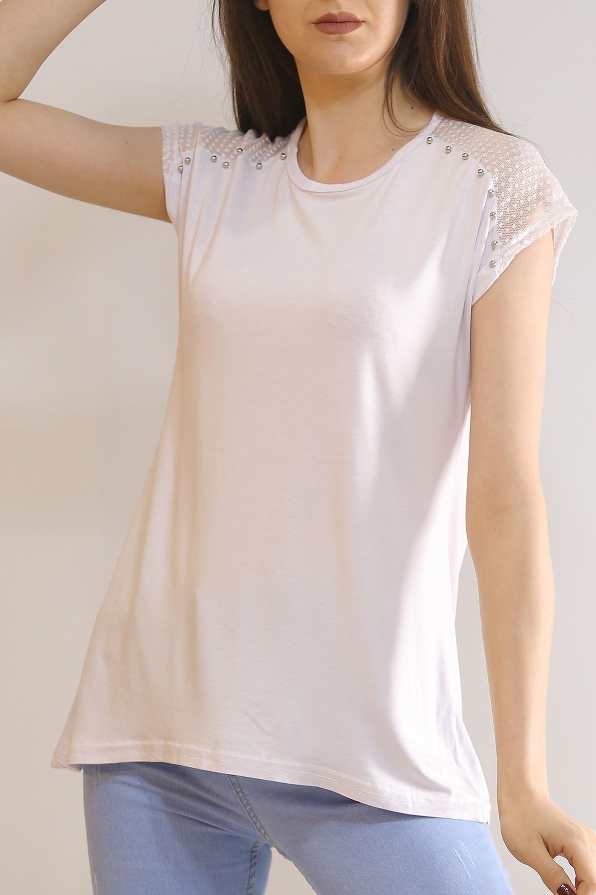 Sıfır Kol Dantelli Tişört Beyaz - 5954.599.