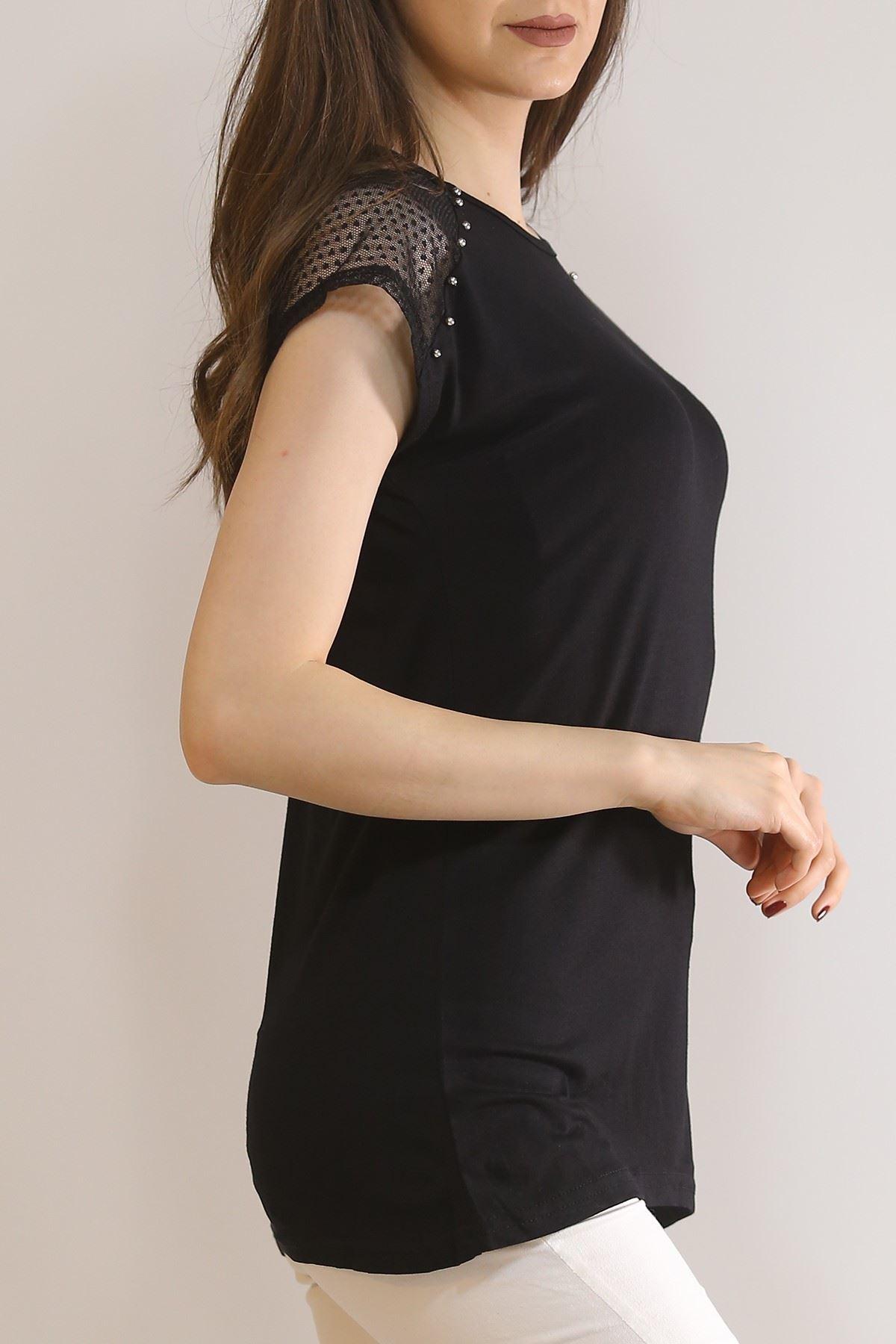Sıfır Kol Dantelli Tişört Siyah - 5954.599.