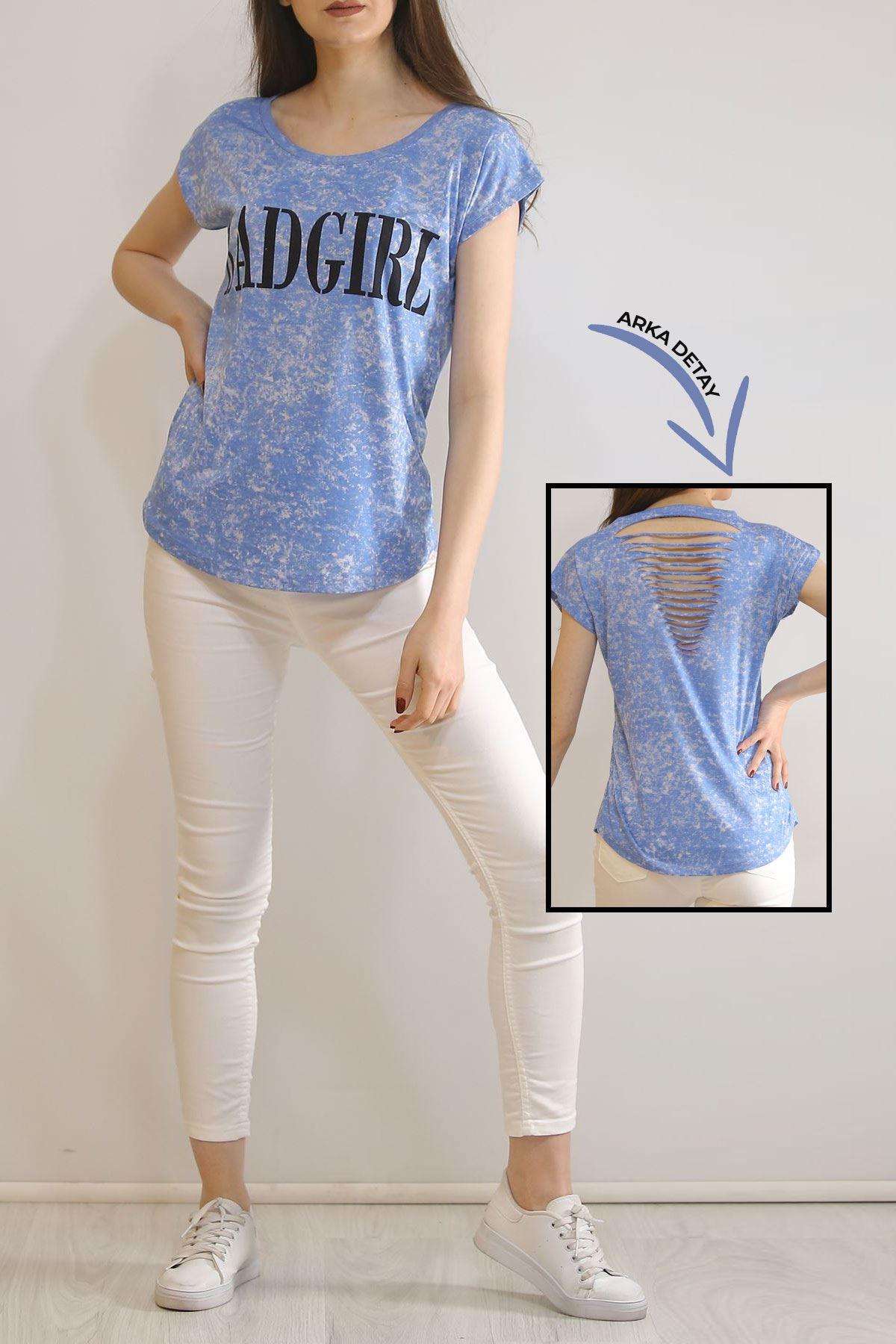 Yıkamalı Tişört Mavi - 3187.196.