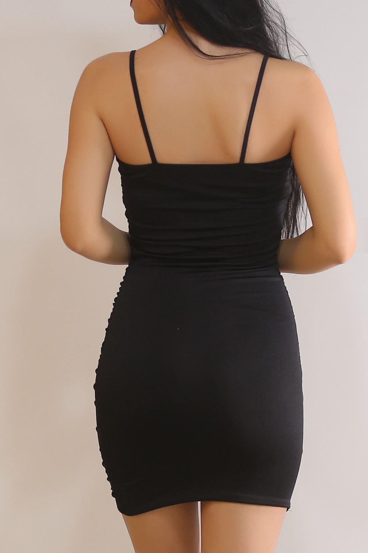 Büzgülü Elbise Siyah - 2004.1380.