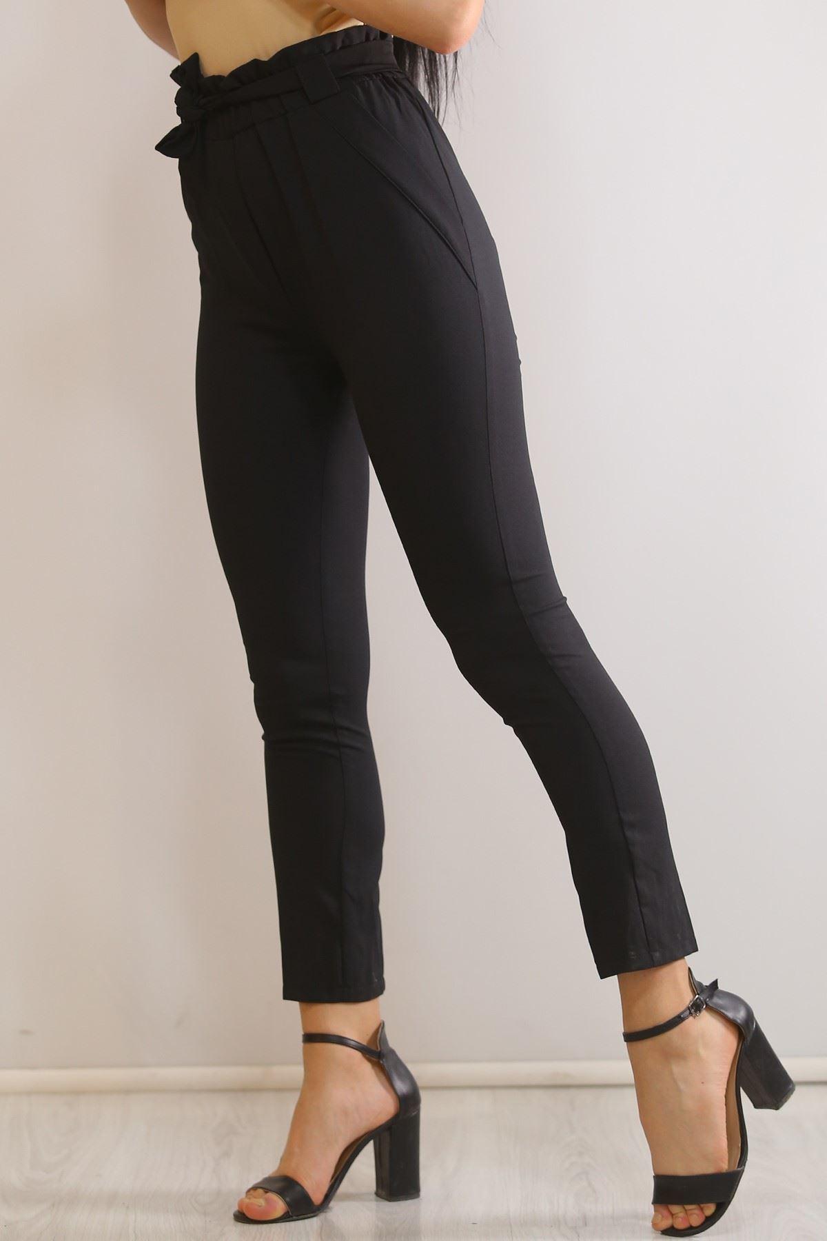 Kuşaklı Kumaş Pantolon Siyah - 5858.1247.