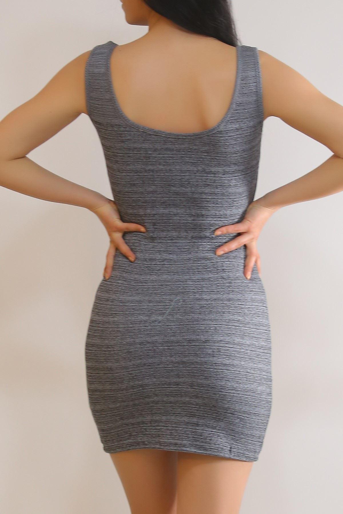 Kalın Askılı Elbise Füme - 5938.1092.