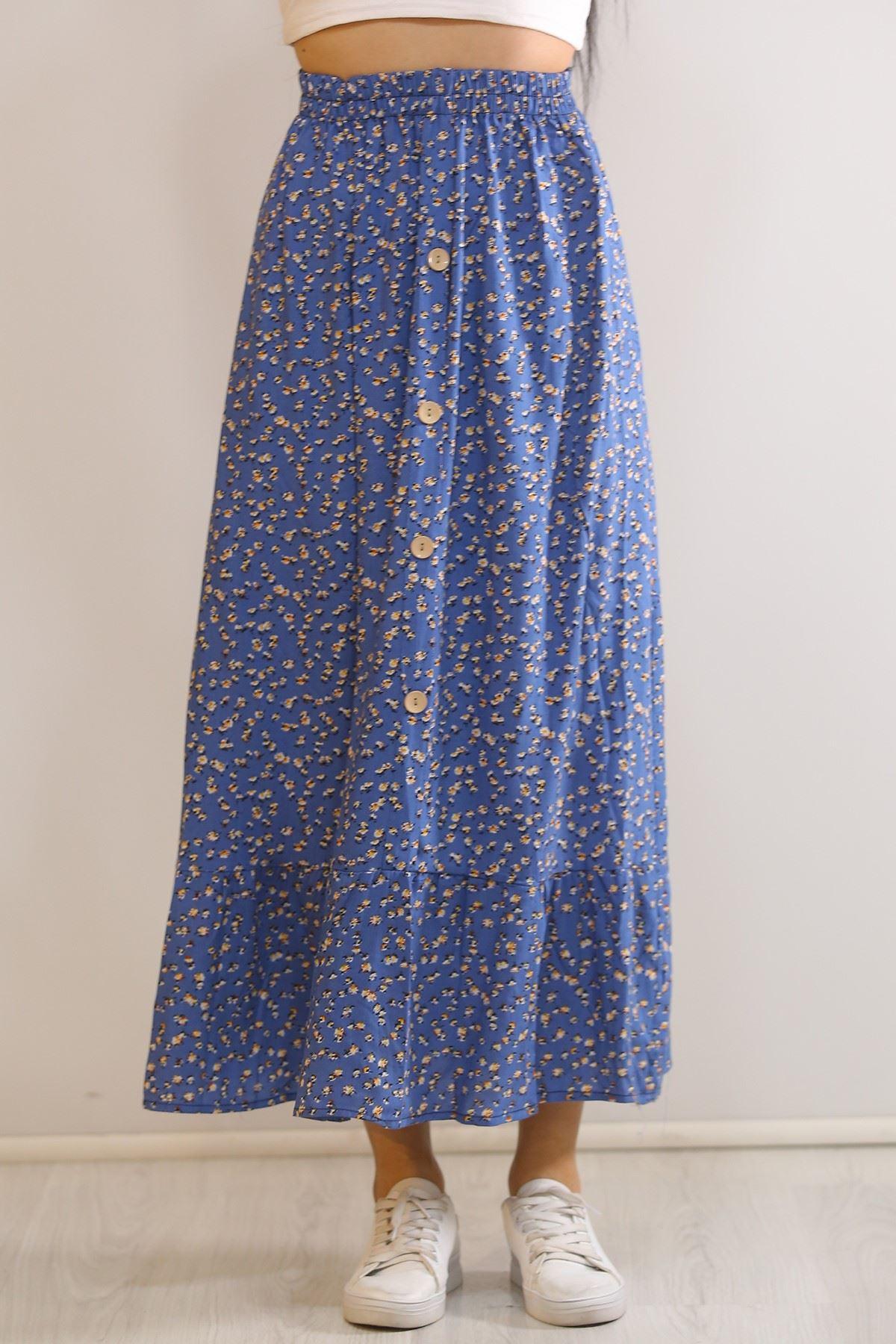 Düğmeli Uzun Etek Mavi - 5944.701.