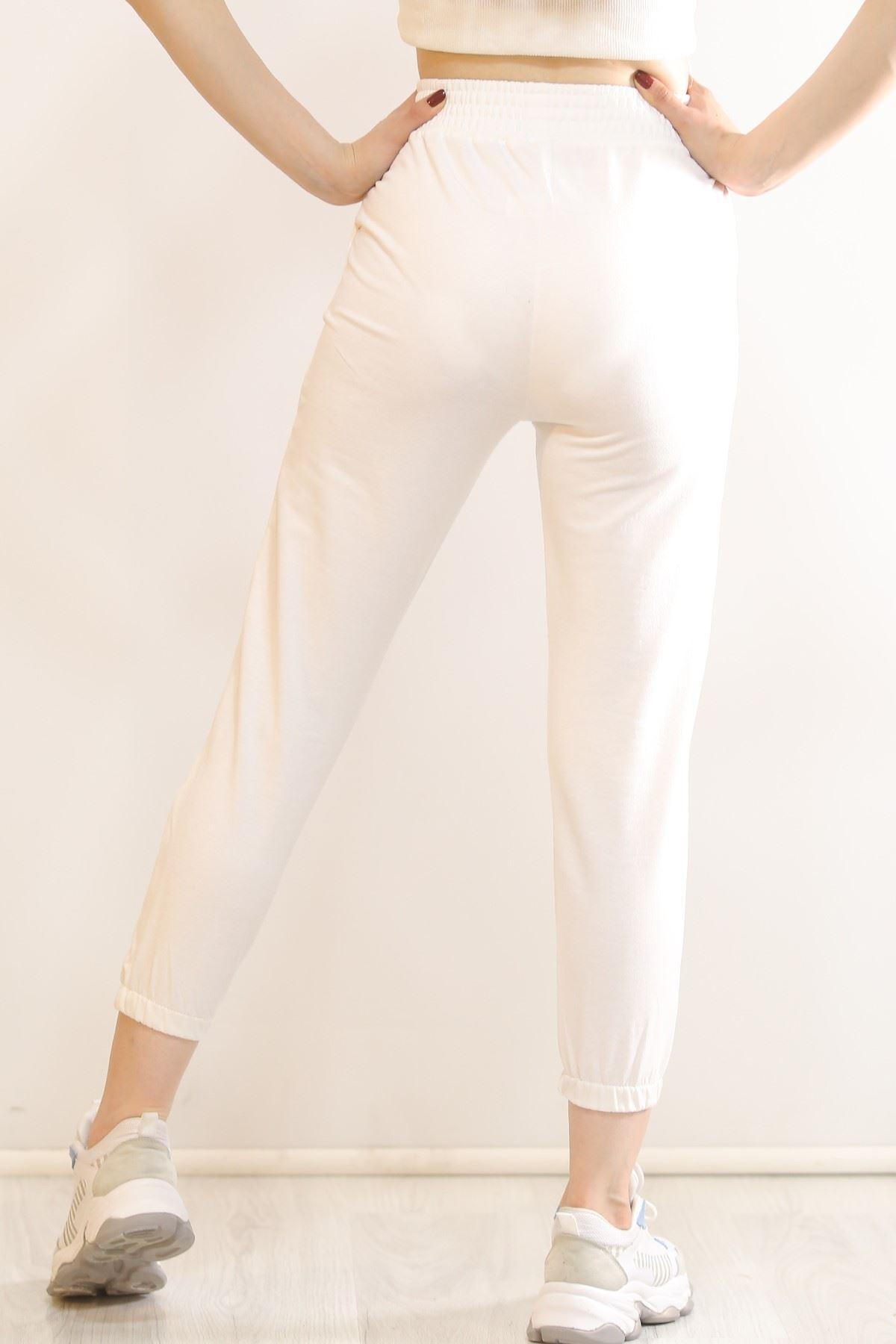 Çımalı Eşofman Altı Beyaz - 5945.102.