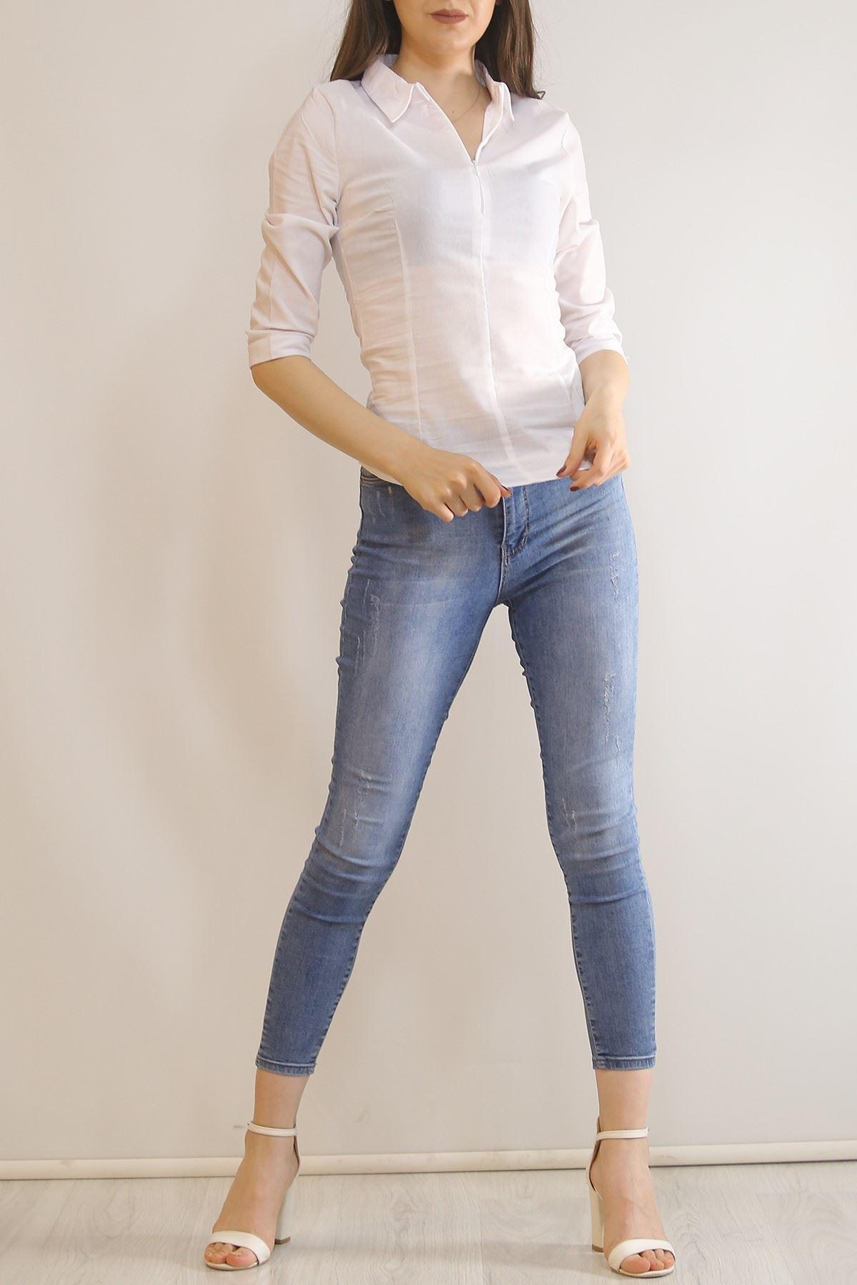 Likralı Slim Fit Gömlek Beyaz - 2315.159.