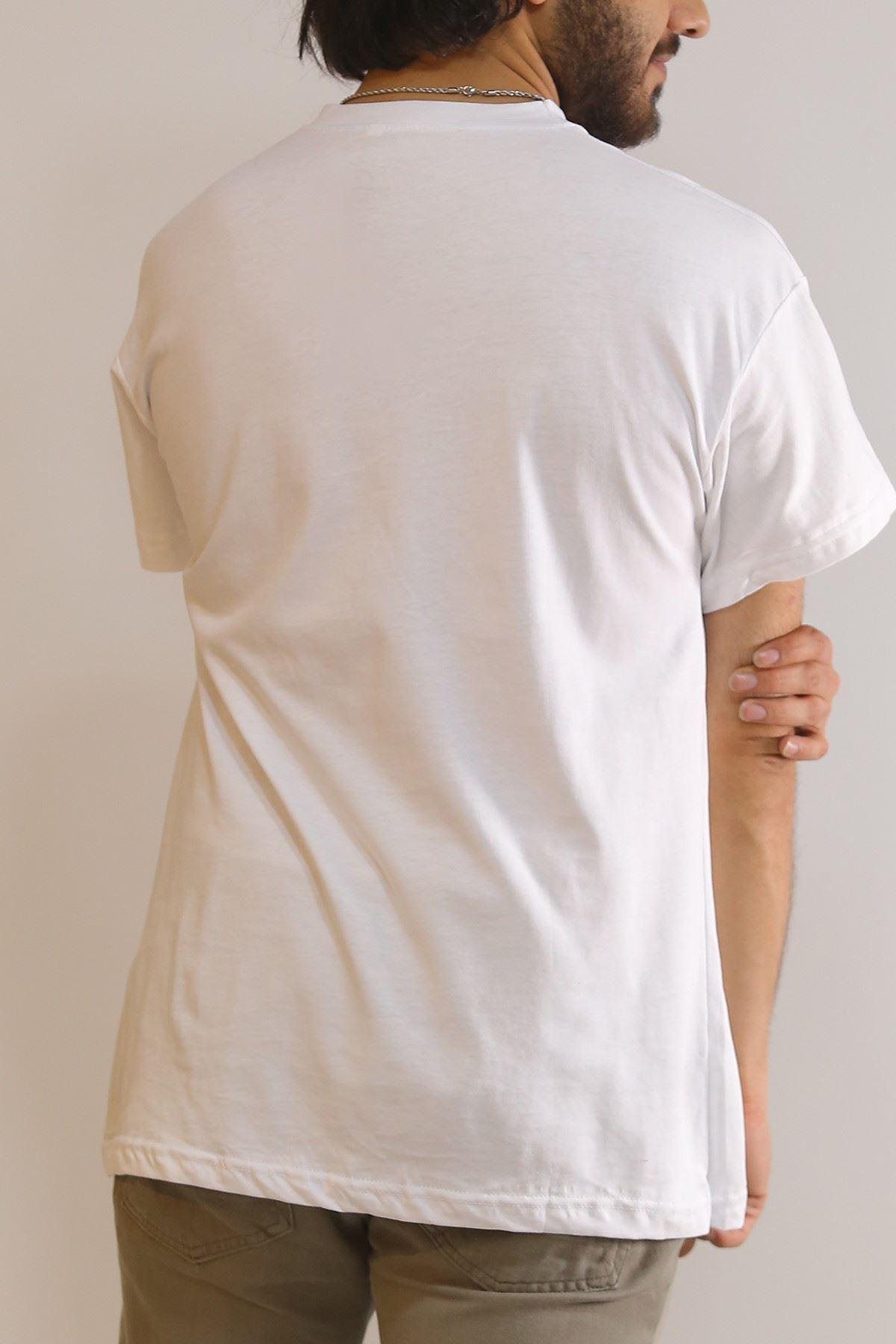 Önü Şeritli Tişört Beyaz - 5968.1377.