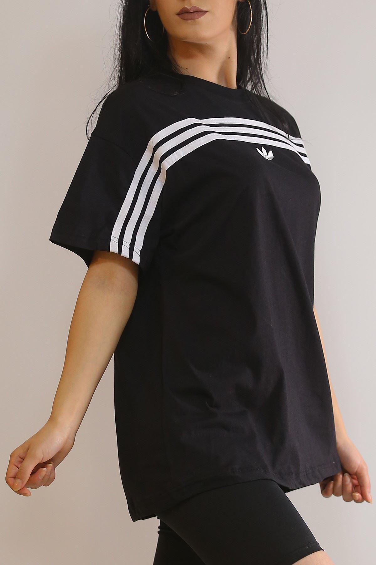 Önü Şeritli Tişört Siyah - 5968.1377.
