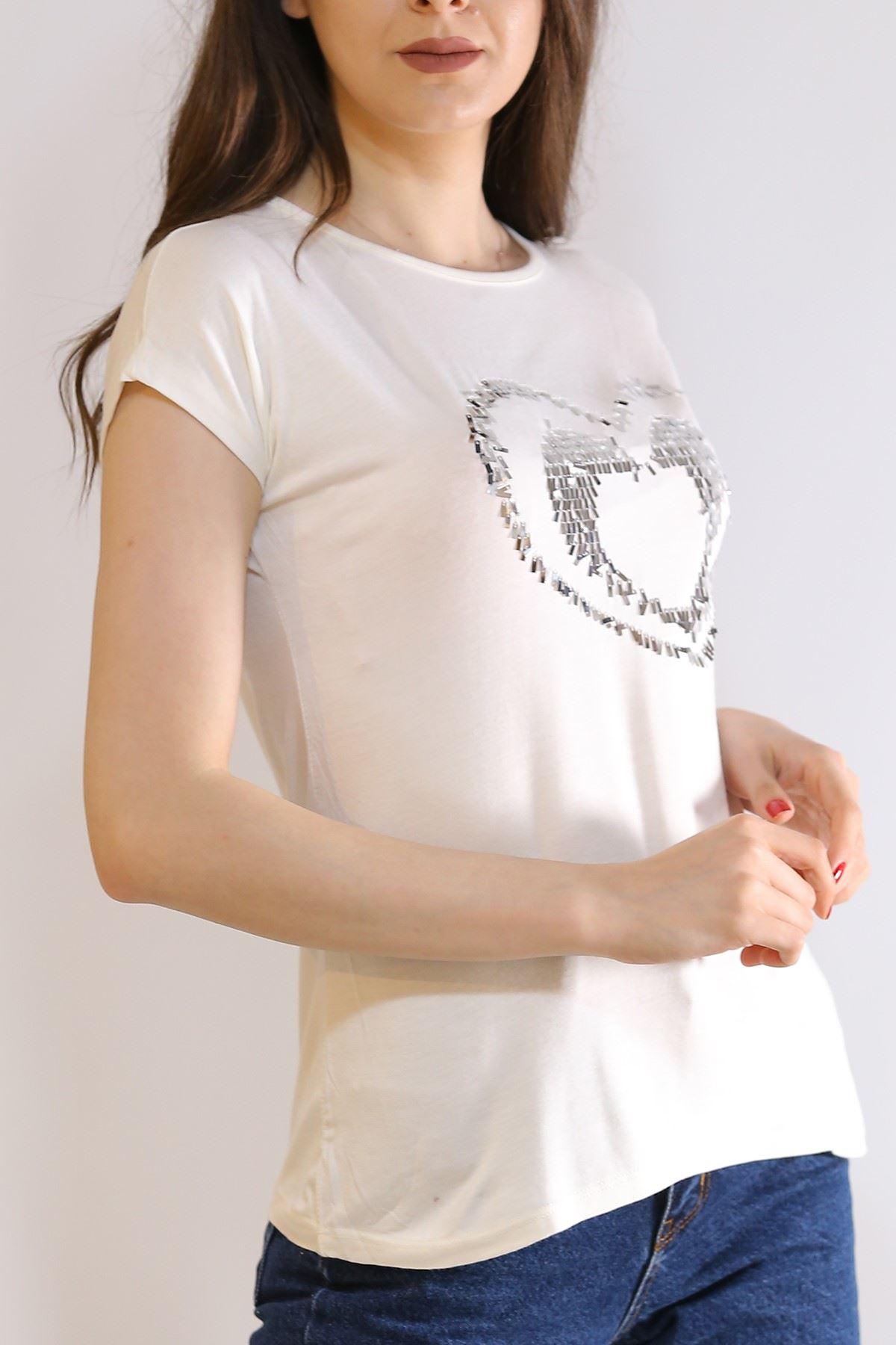 Pul Kalpli Tişört Beyaz - 5026.139.